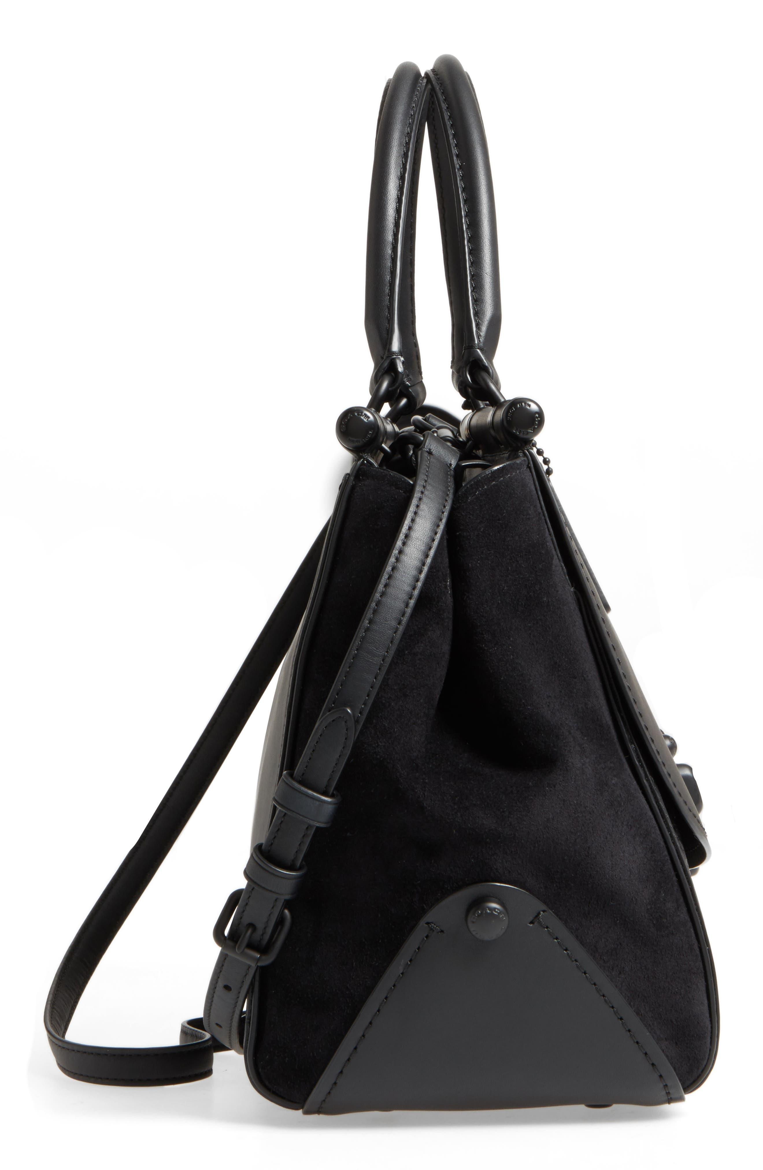 Mixed Leather Satchel,                             Alternate thumbnail 4, color,                             Black