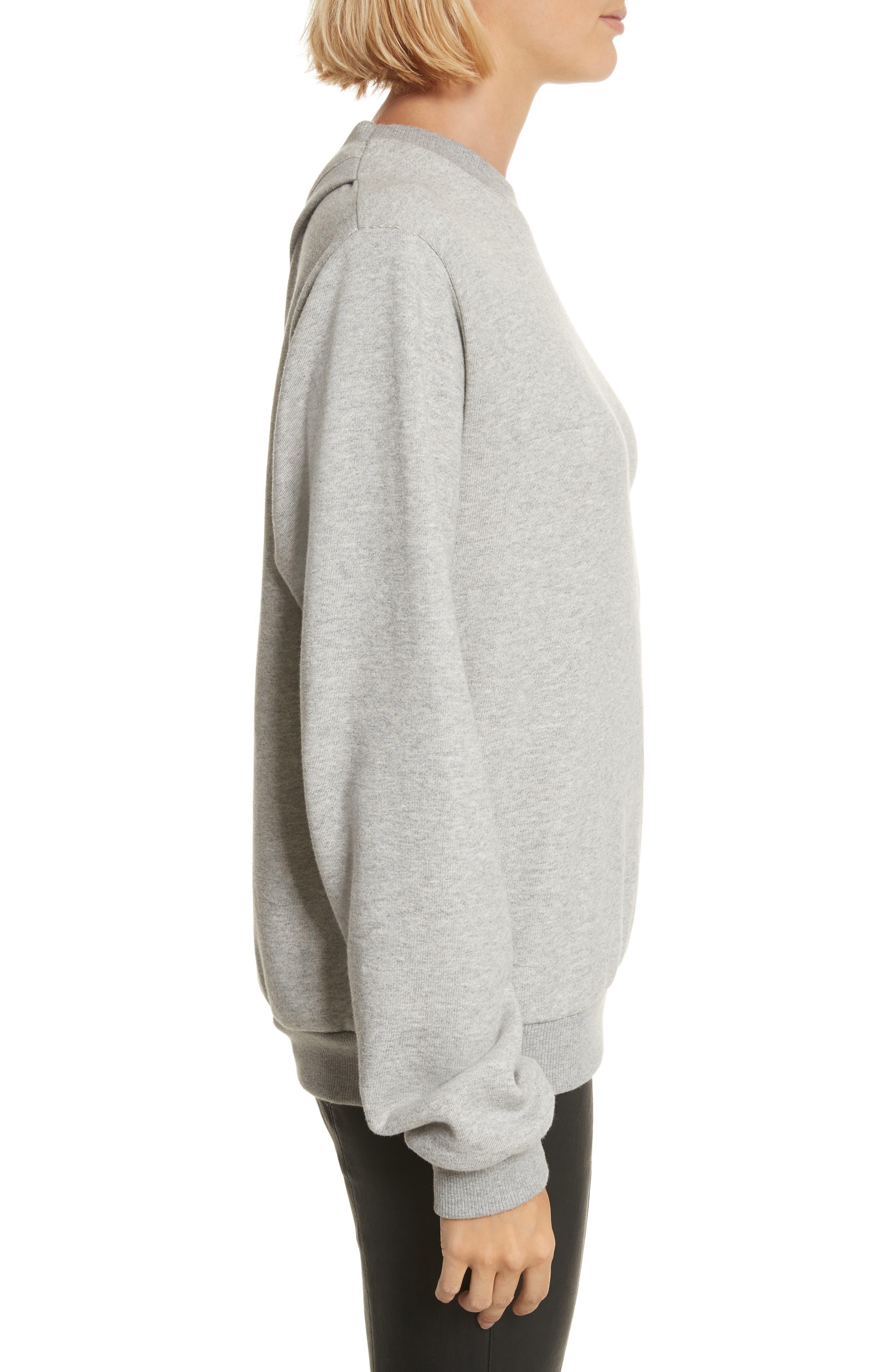 Covell Split Back Sweatshirt,                             Alternate thumbnail 3, color,                             Heather Grey