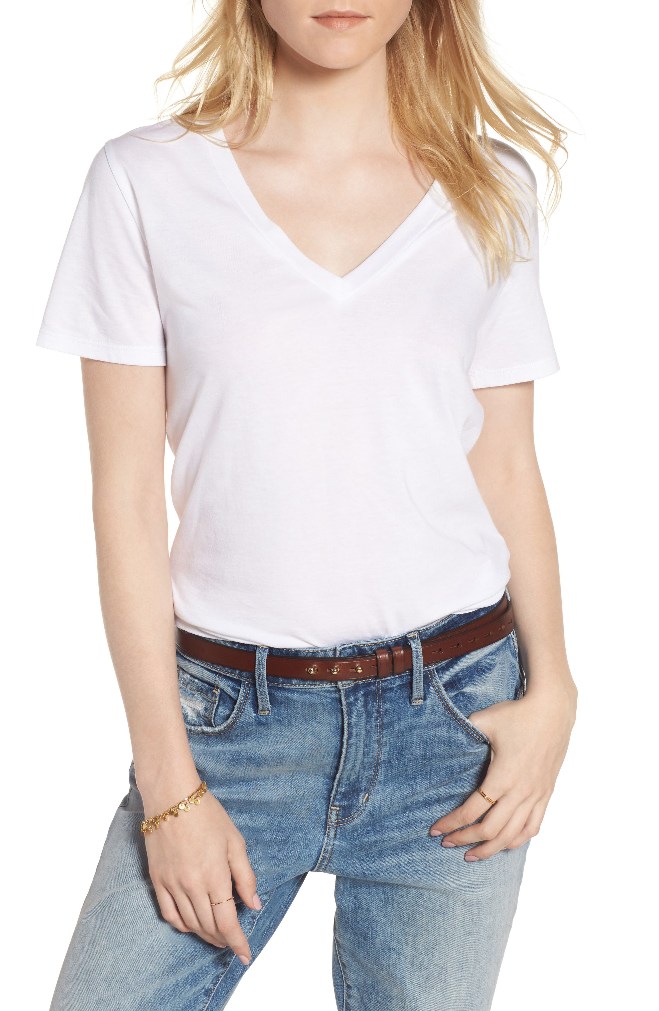 Perfect V-Neck Tee,                         Main,                         color, White