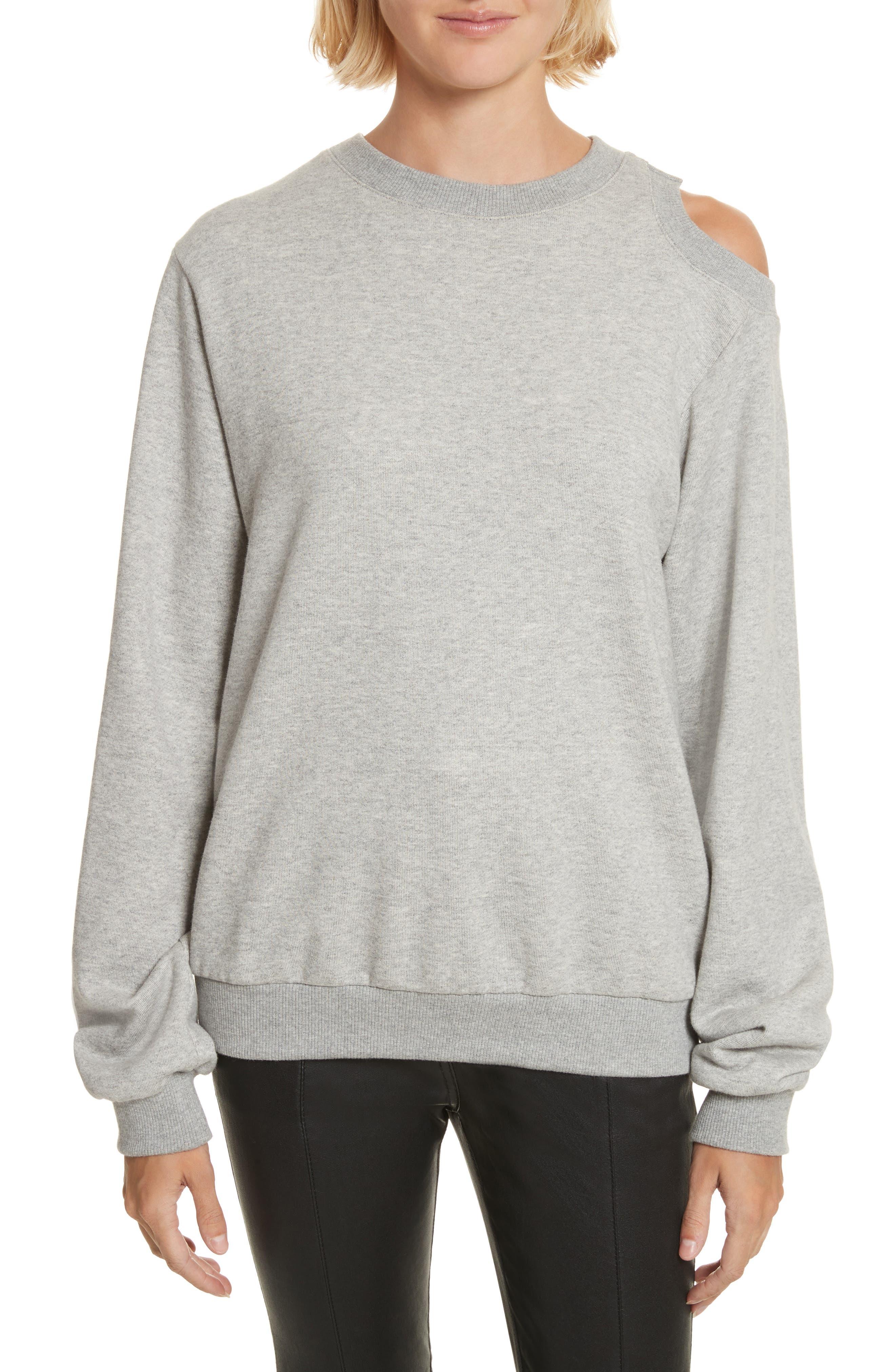 Covell Split Back Sweatshirt,                             Main thumbnail 1, color,                             Heather Grey