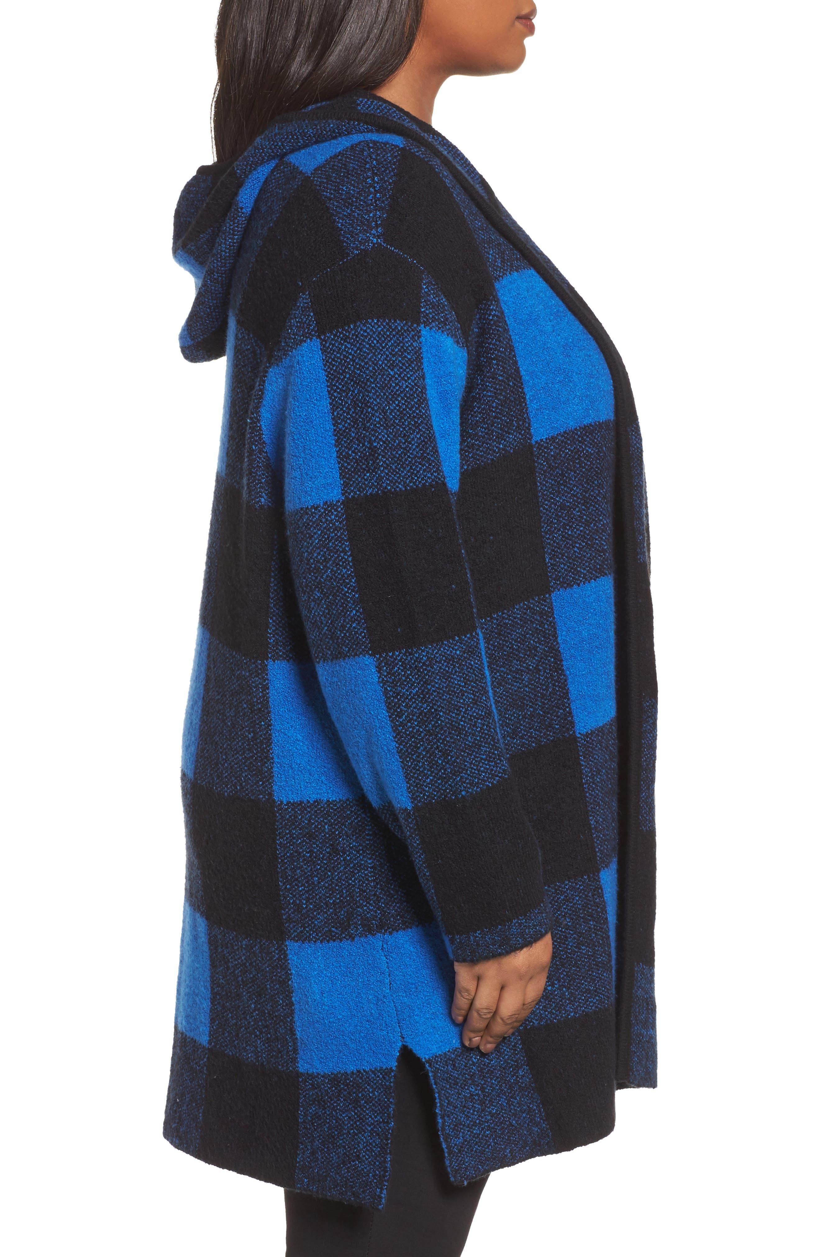 Plaid Hooded Sweater Coatigan,                             Alternate thumbnail 3, color,                             Blue Checkerboard Jacquard