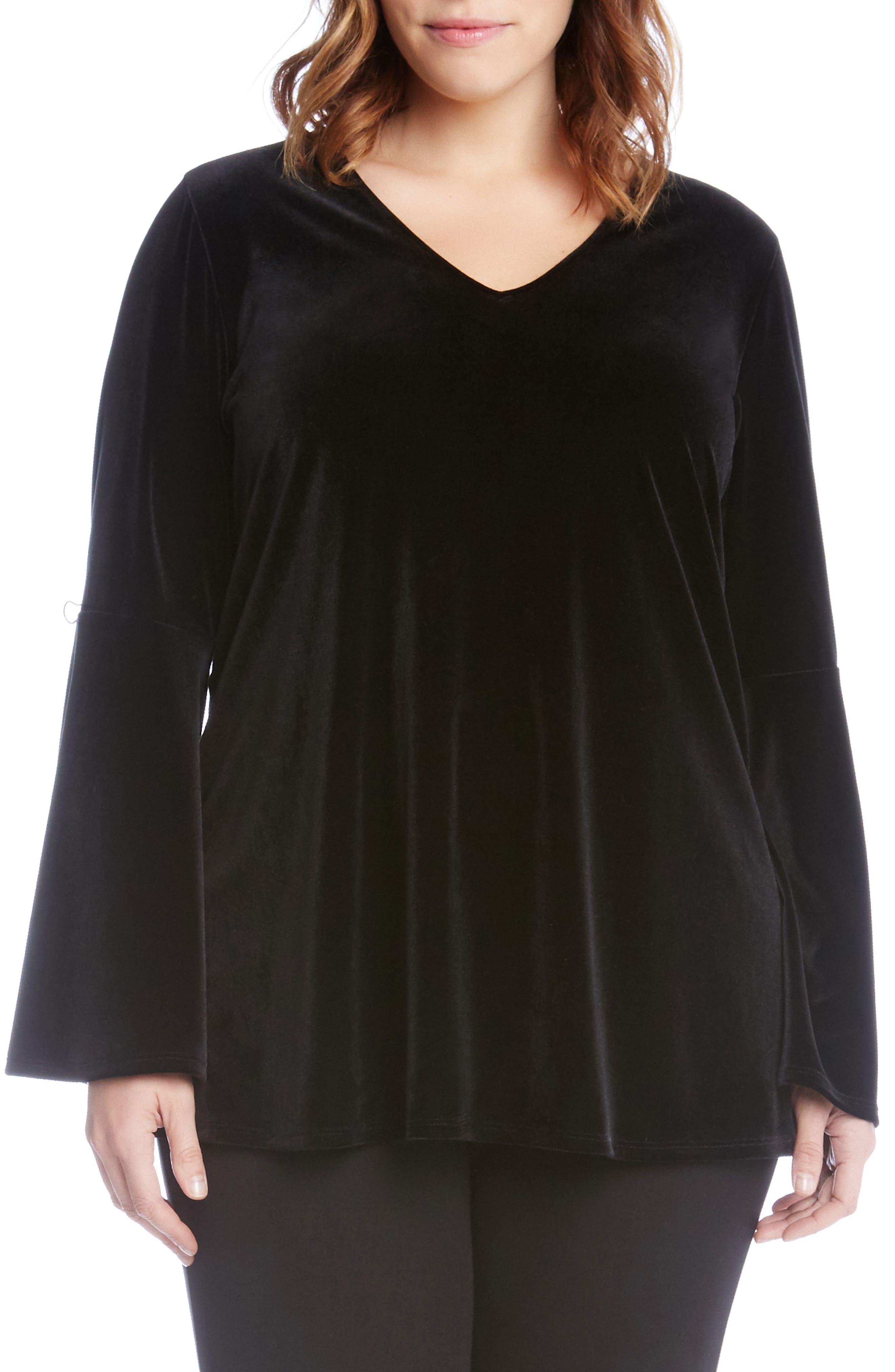Karen Kane Bell Sleeve Velvet Top (Plus Size)