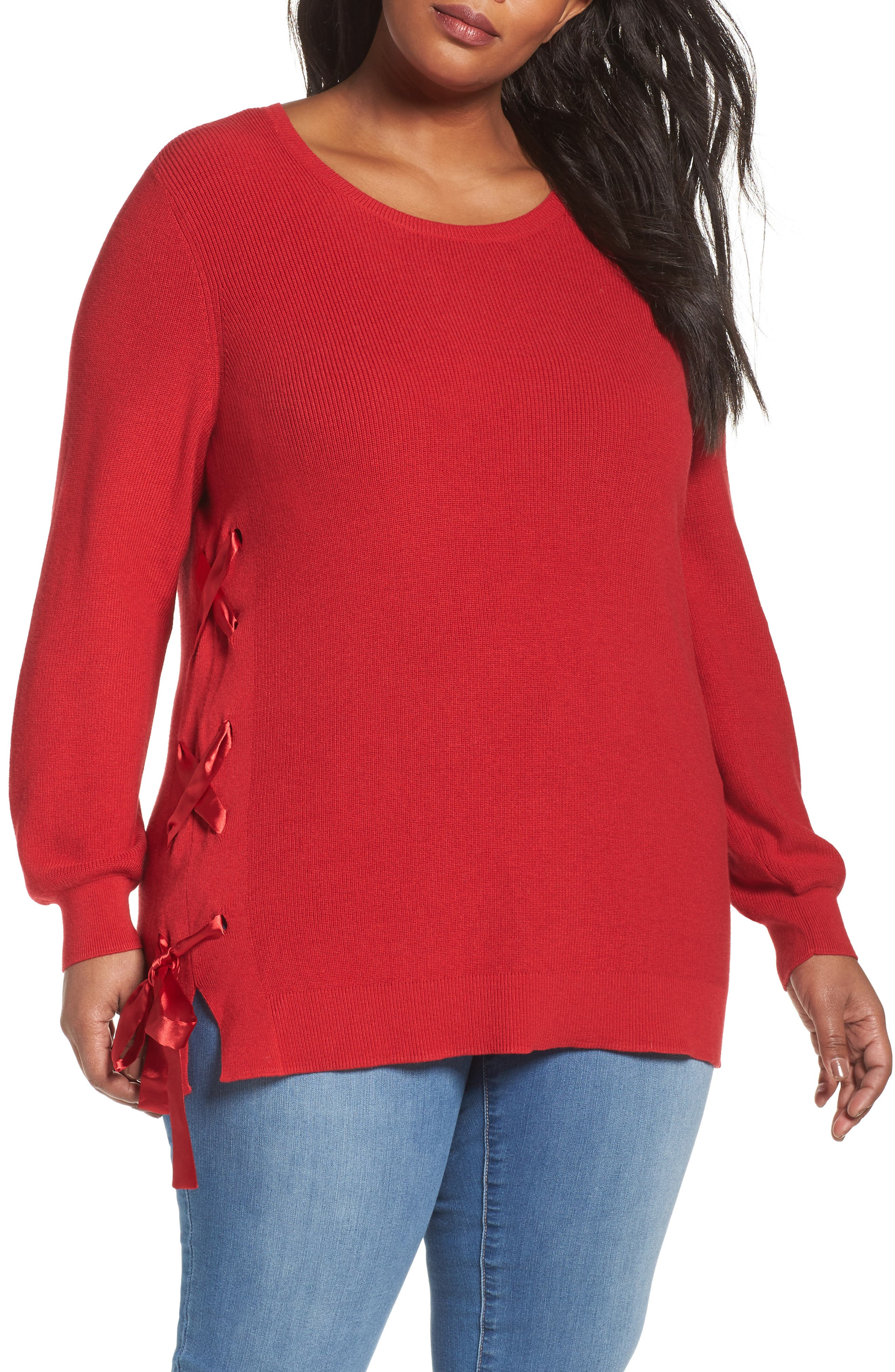 Lace-Up Pullover,                         Main,                         color, Red Sage