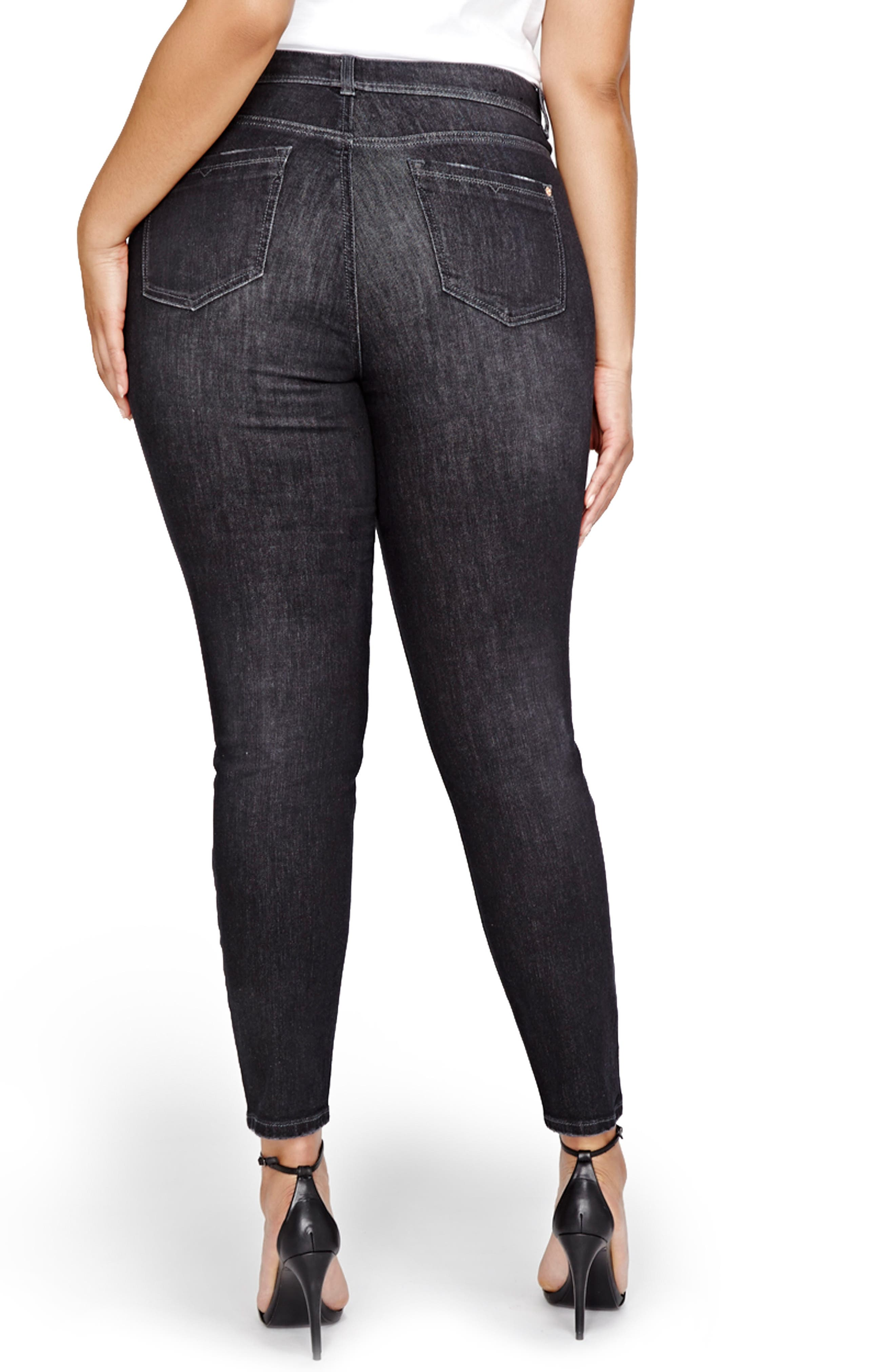 Alternate Image 2  - ADDITION ELLE LOVE AND LEGEND Slash Skinny Jeans (Plus Size)