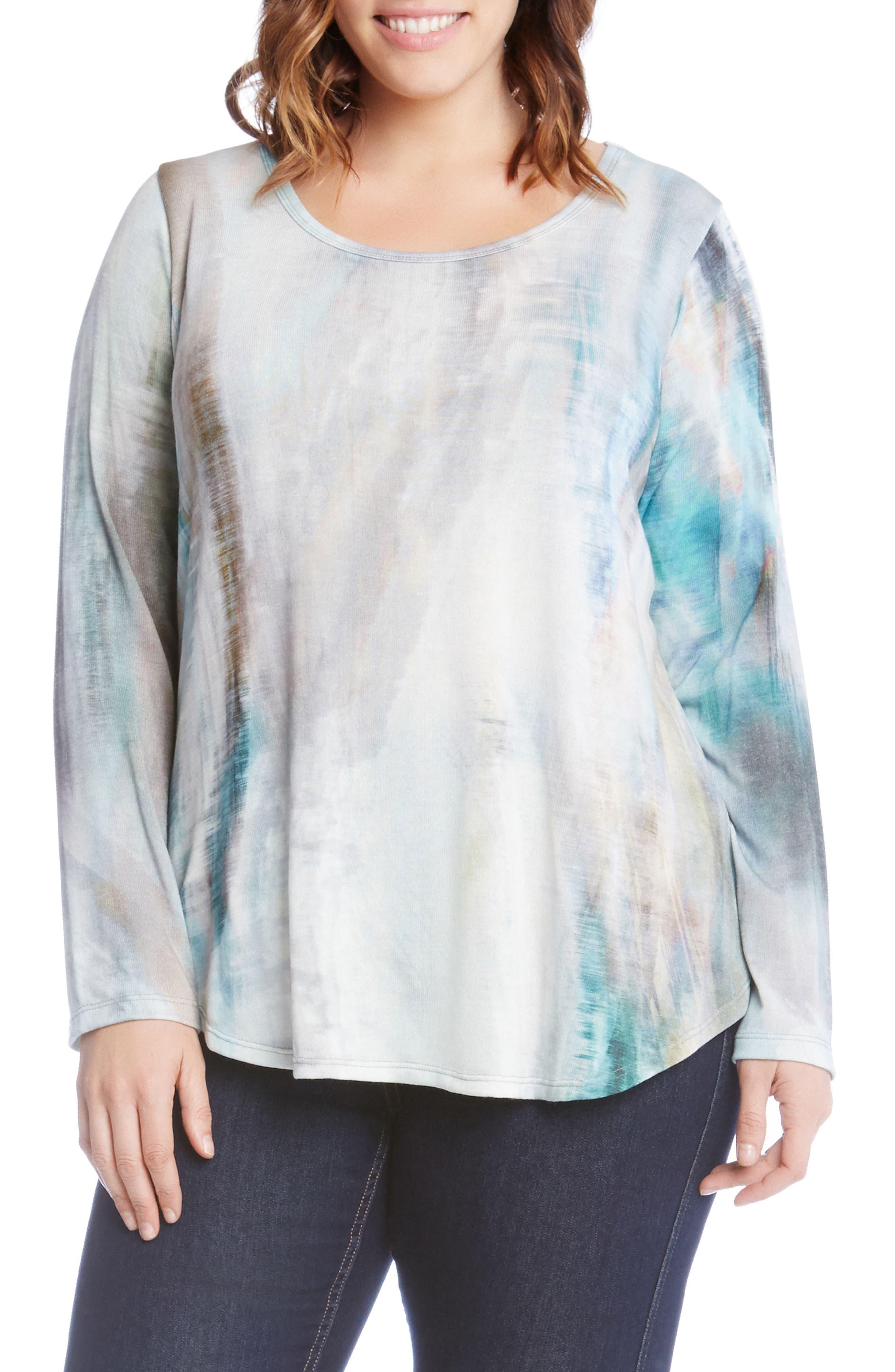 Main Image - Karen Kane Print Shirttail Top (Plus Size)