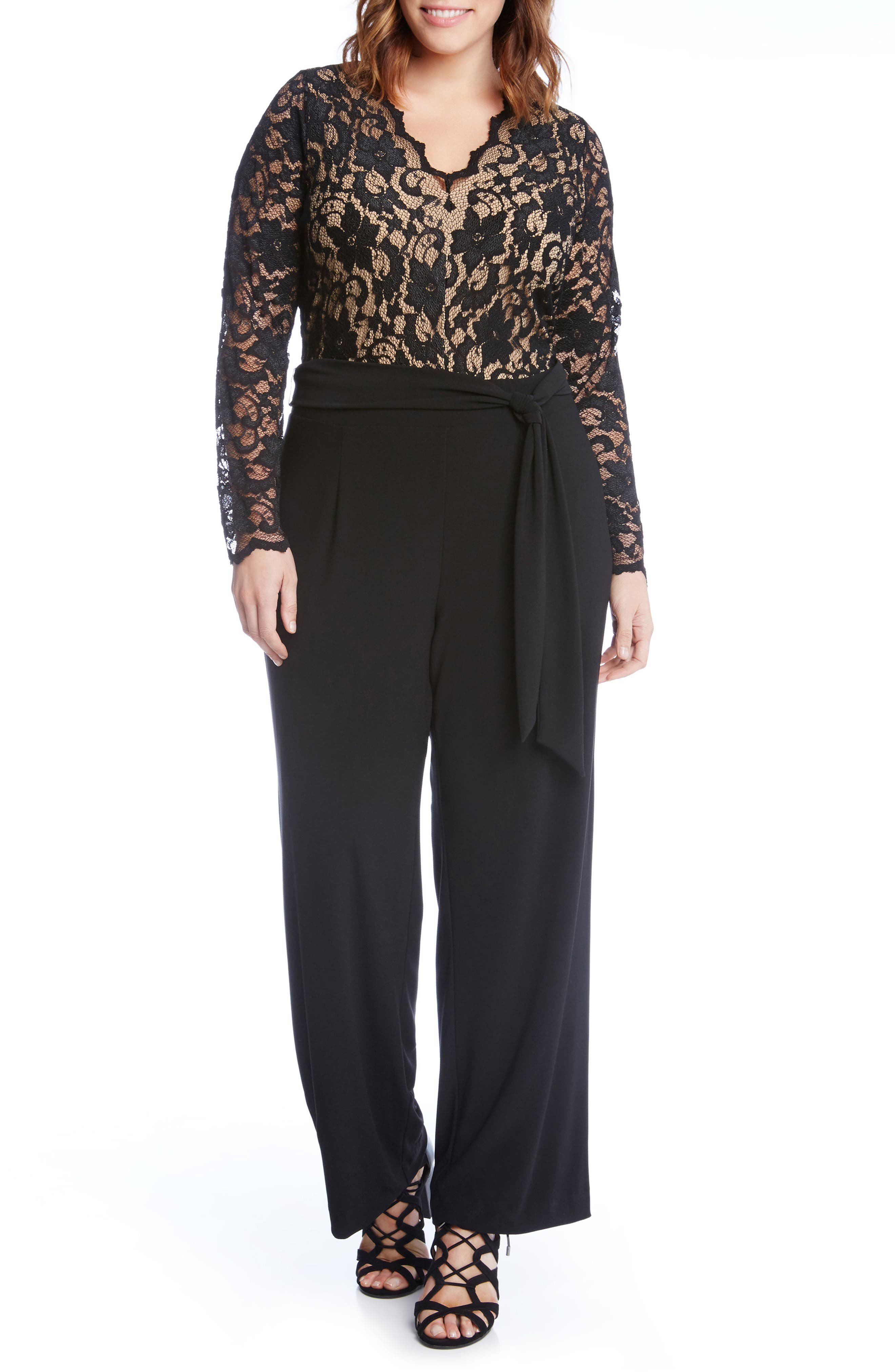 Alternate Image 1 Selected - Karen Kane Lace & Jersey Palazzo Jumpsuit (Plus Size)