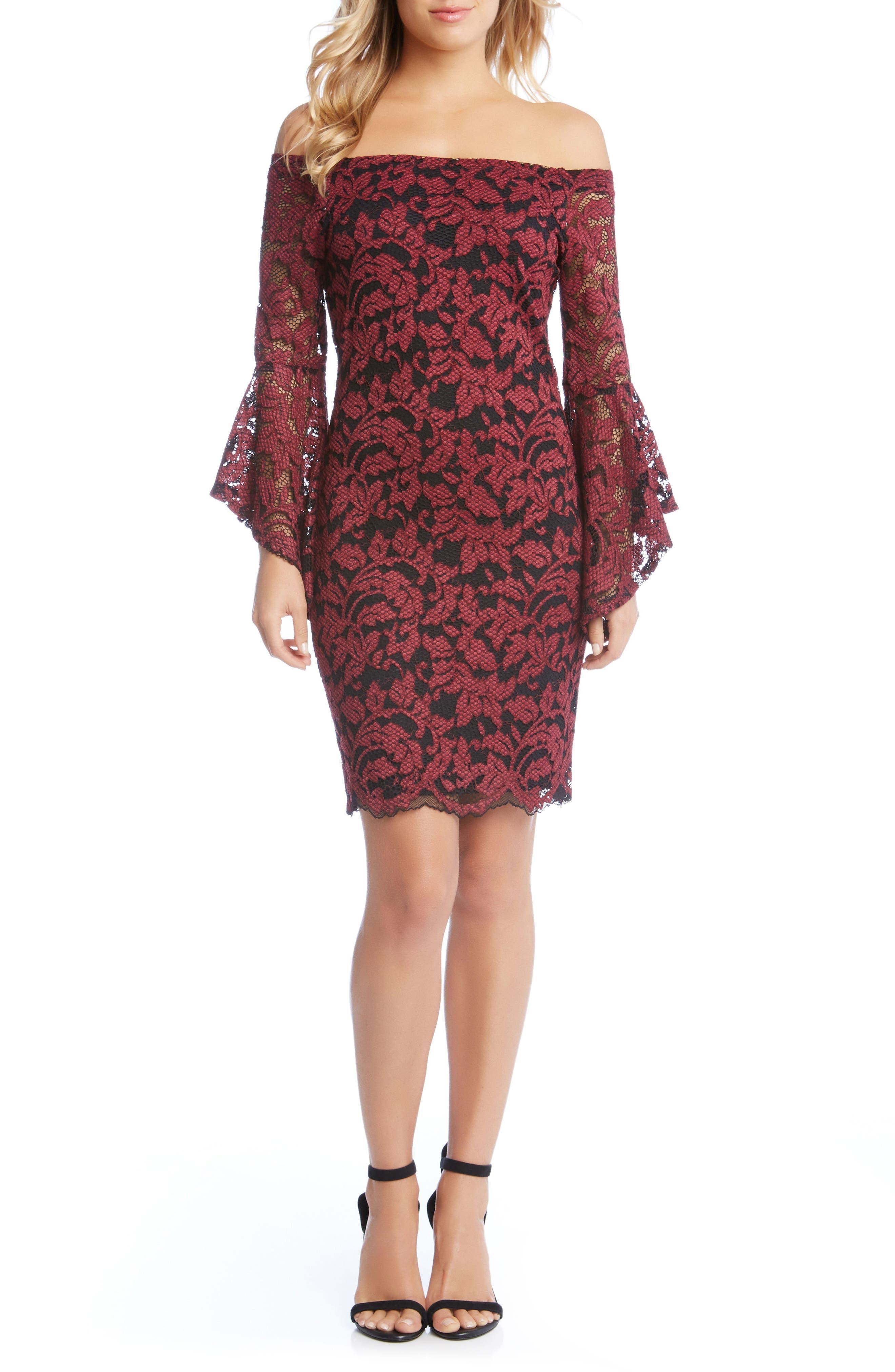 Main Image - Karen Kane Samantha Off the Shoulder Lace Dress