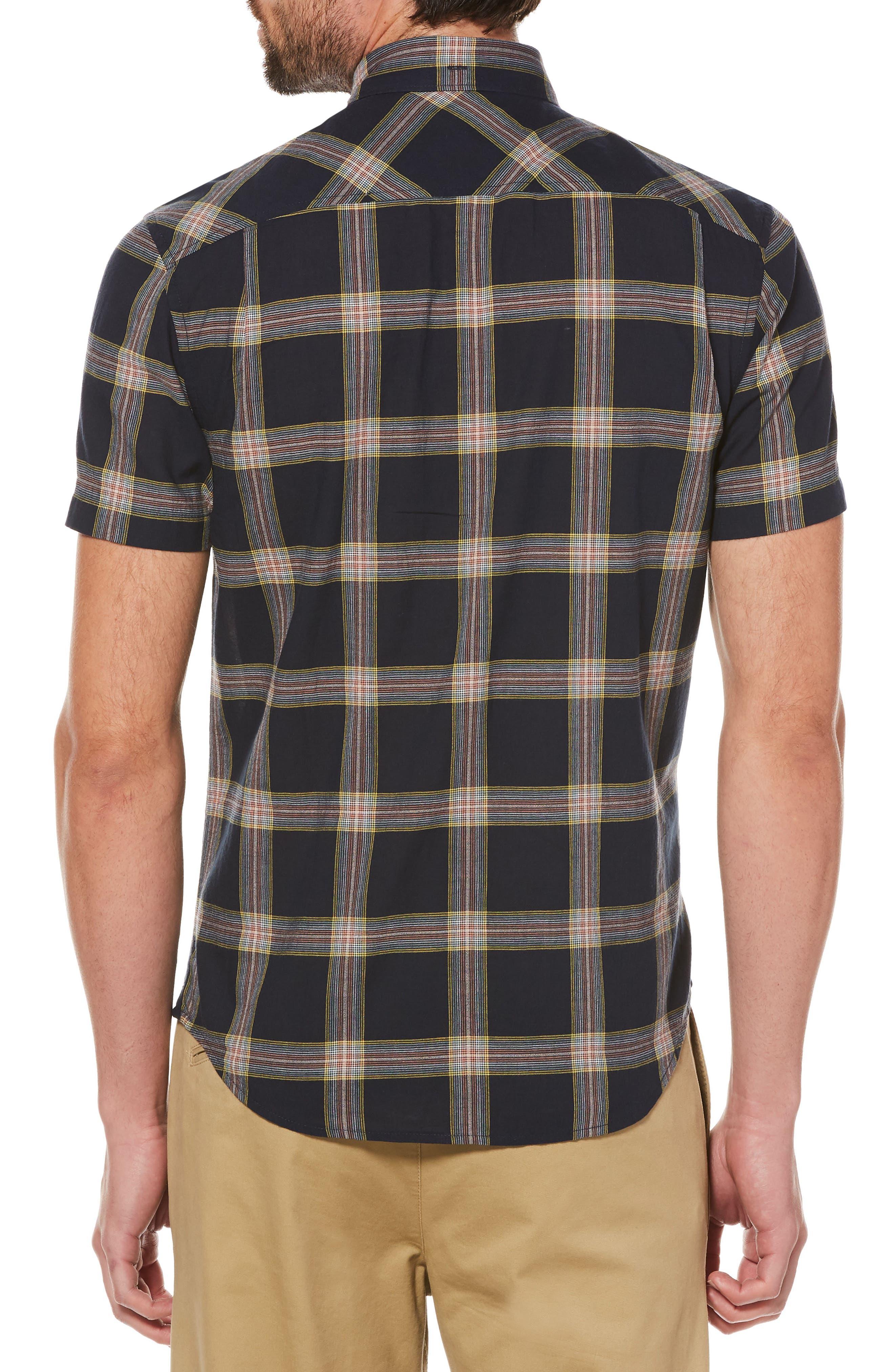 Textured Lawn Plaid Shirt,                             Alternate thumbnail 2, color,                             Dark Sapphire