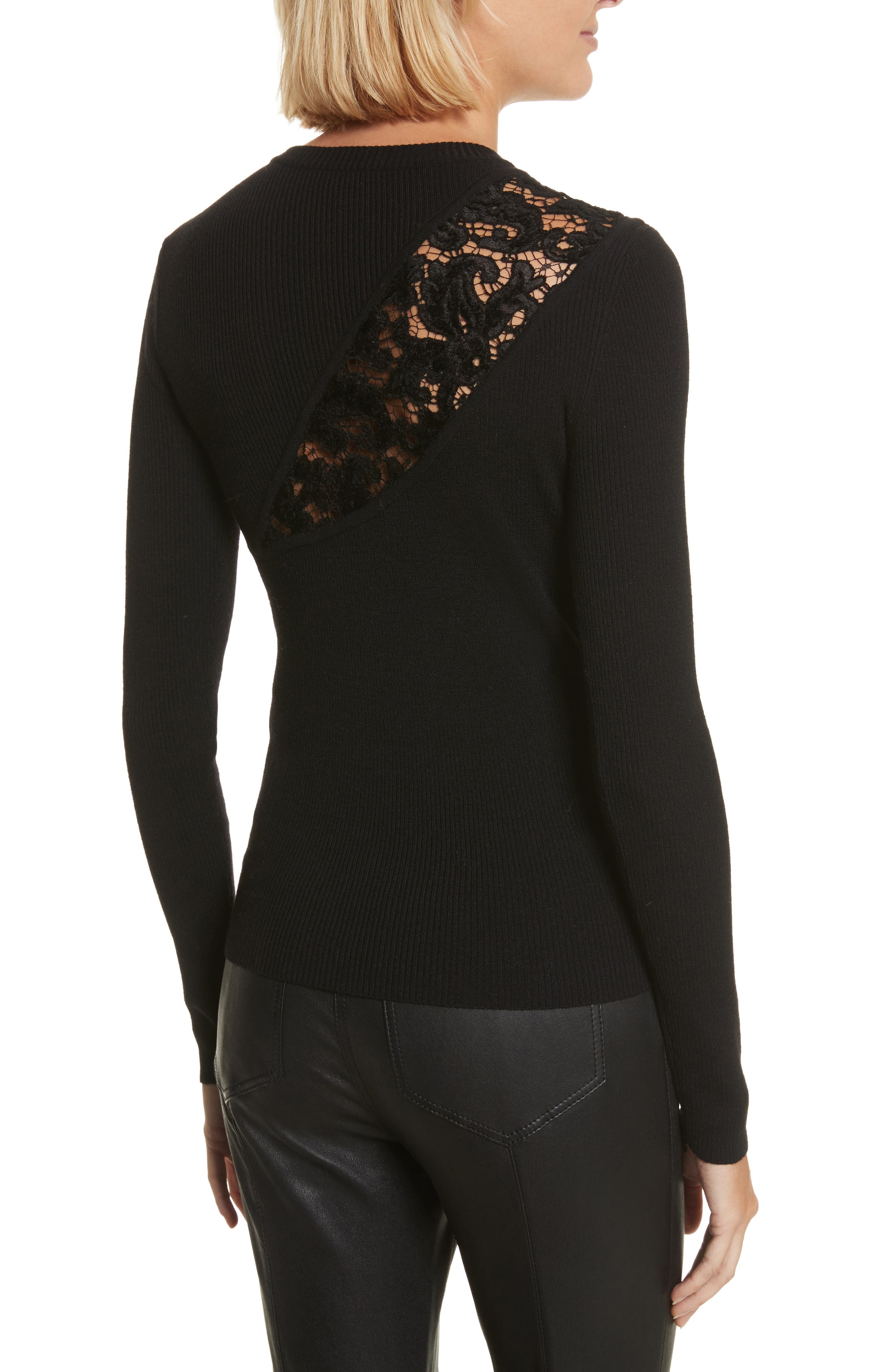 Terence Lace Inset Sweater,                             Alternate thumbnail 2, color,                             Black