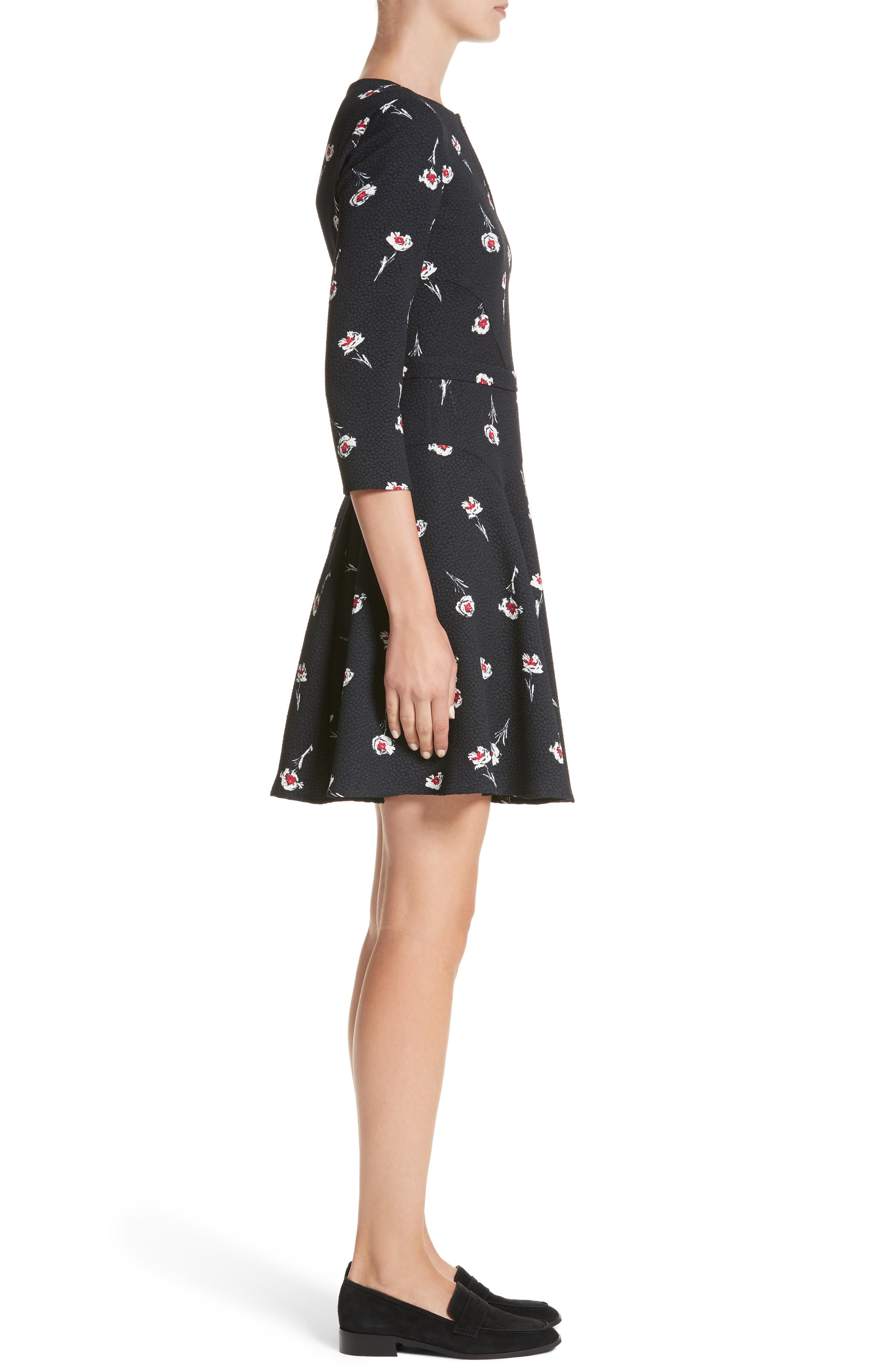 Floral Print Fit & Flare Dress,                             Alternate thumbnail 3, color,                             Floral