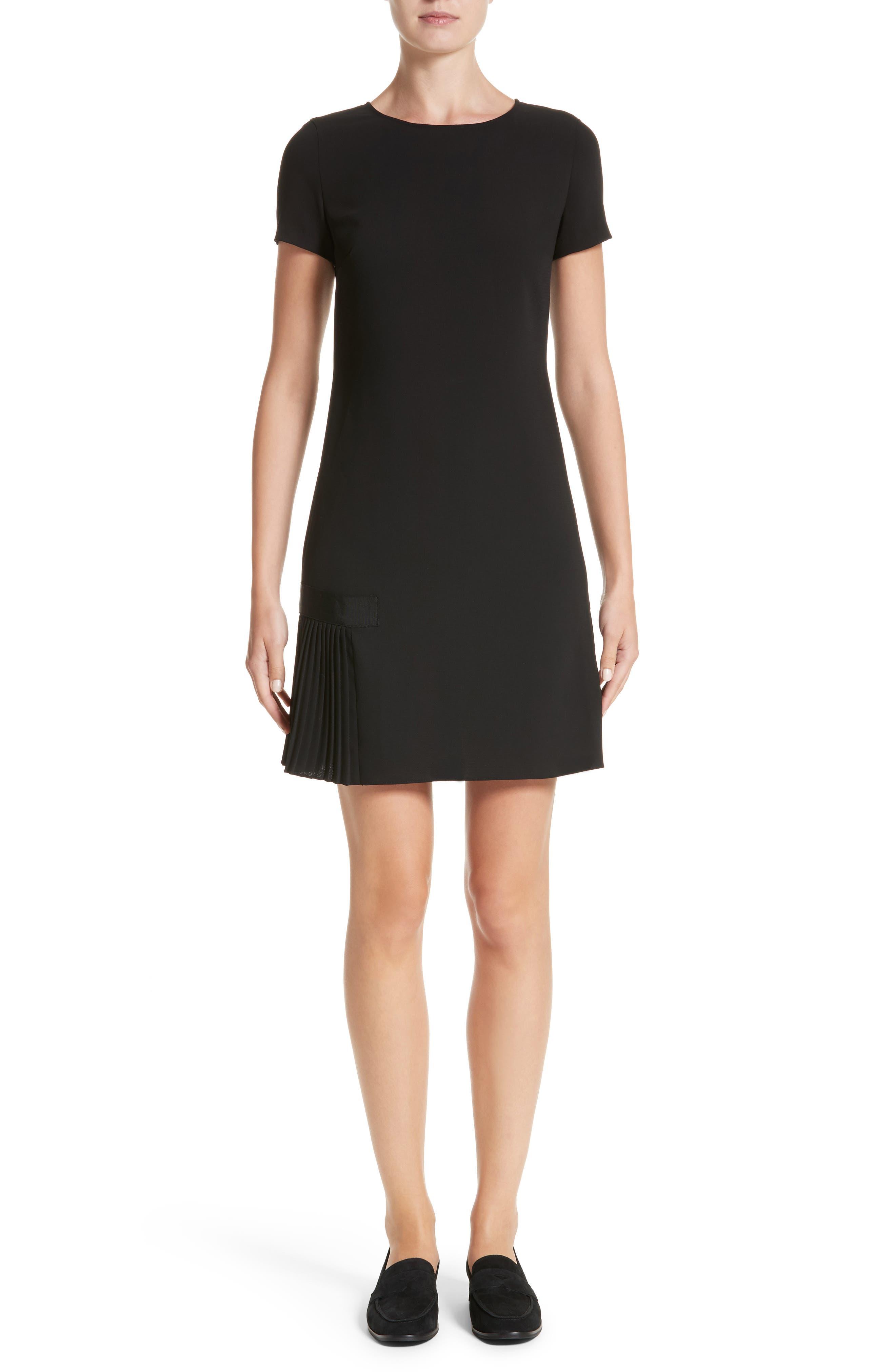 Crepe Pleated Hem Dress,                             Main thumbnail 1, color,                             Black