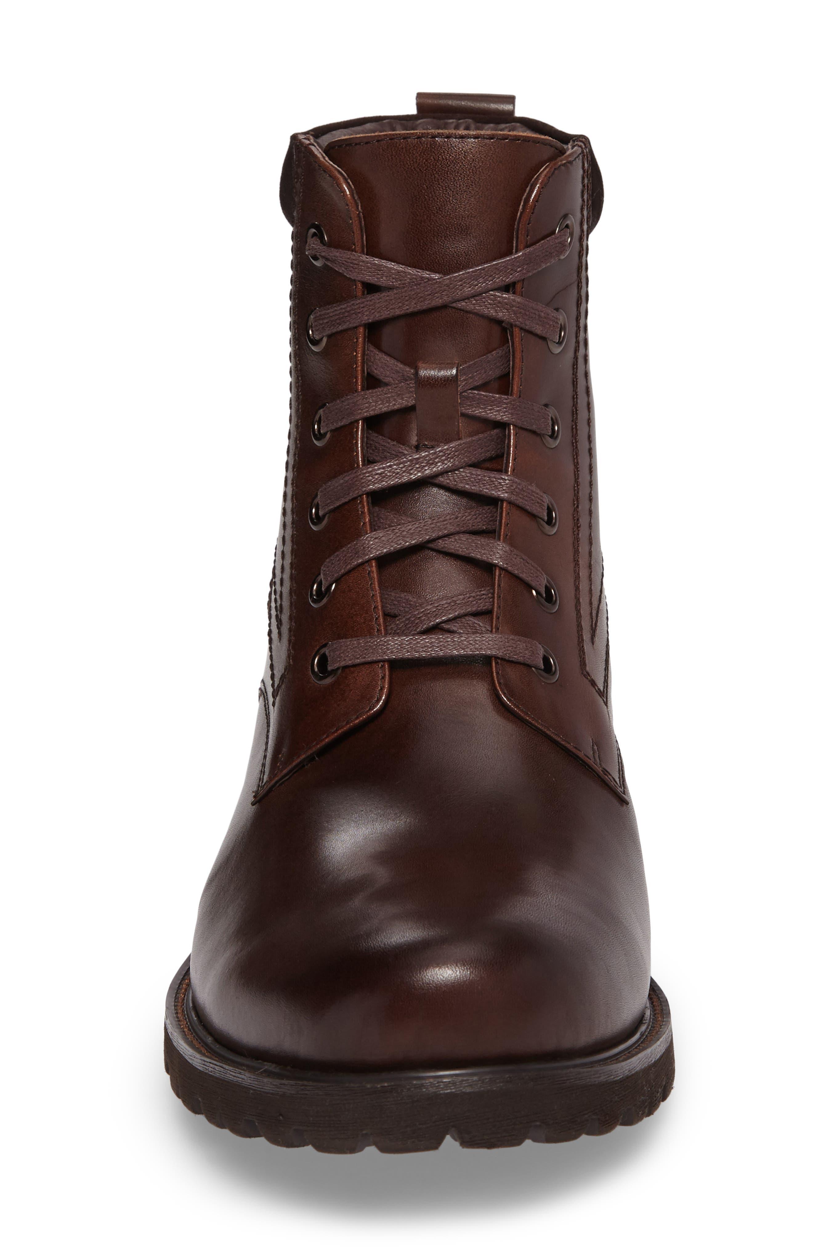 Keller Plain Toe Boot,                             Alternate thumbnail 4, color,                             Brown Leather
