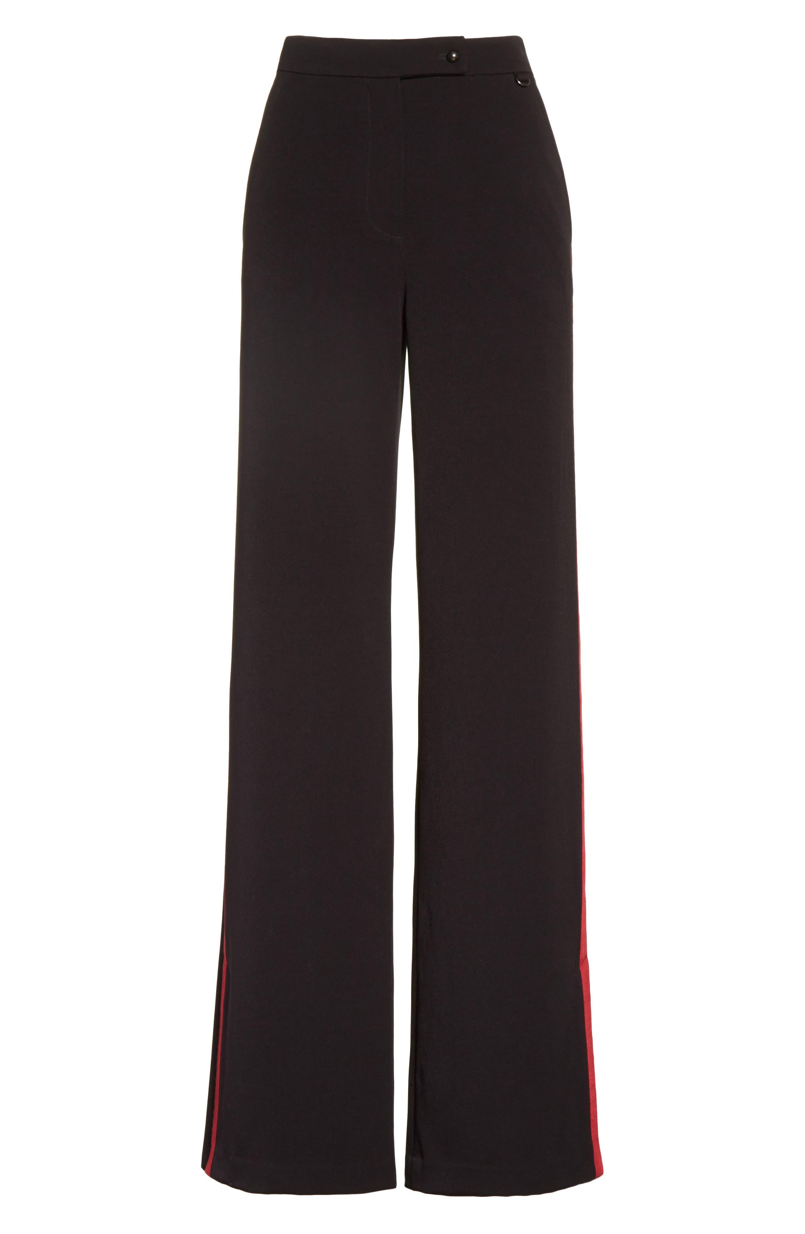 Side Vent Wide Leg Pants,                             Alternate thumbnail 6, color,                             Black