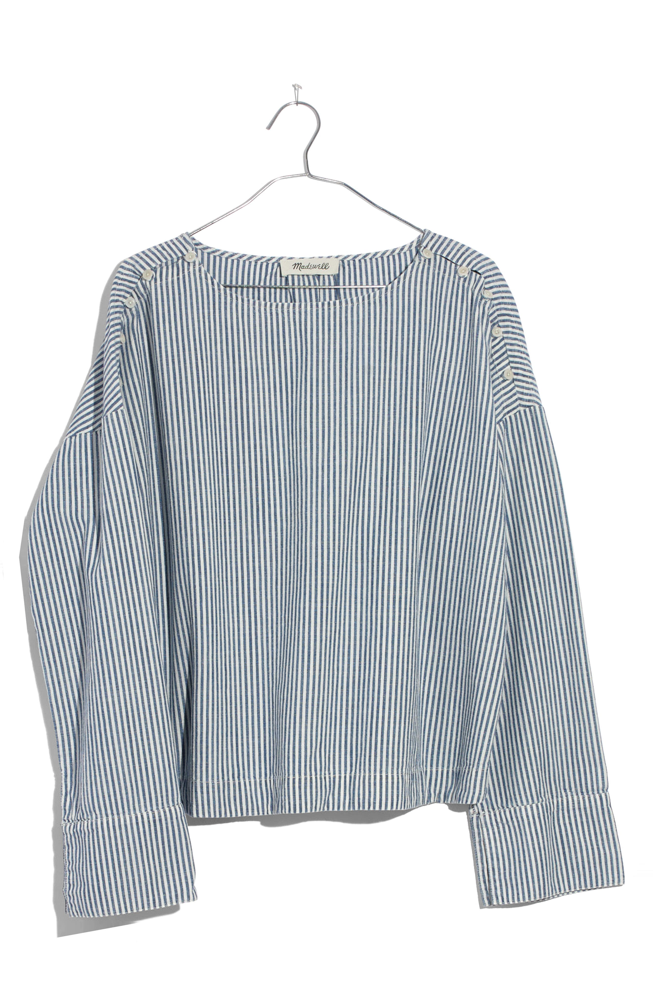 Convertible Cold Shoulder Top,                             Alternate thumbnail 3, color,                             Chambray Stripe