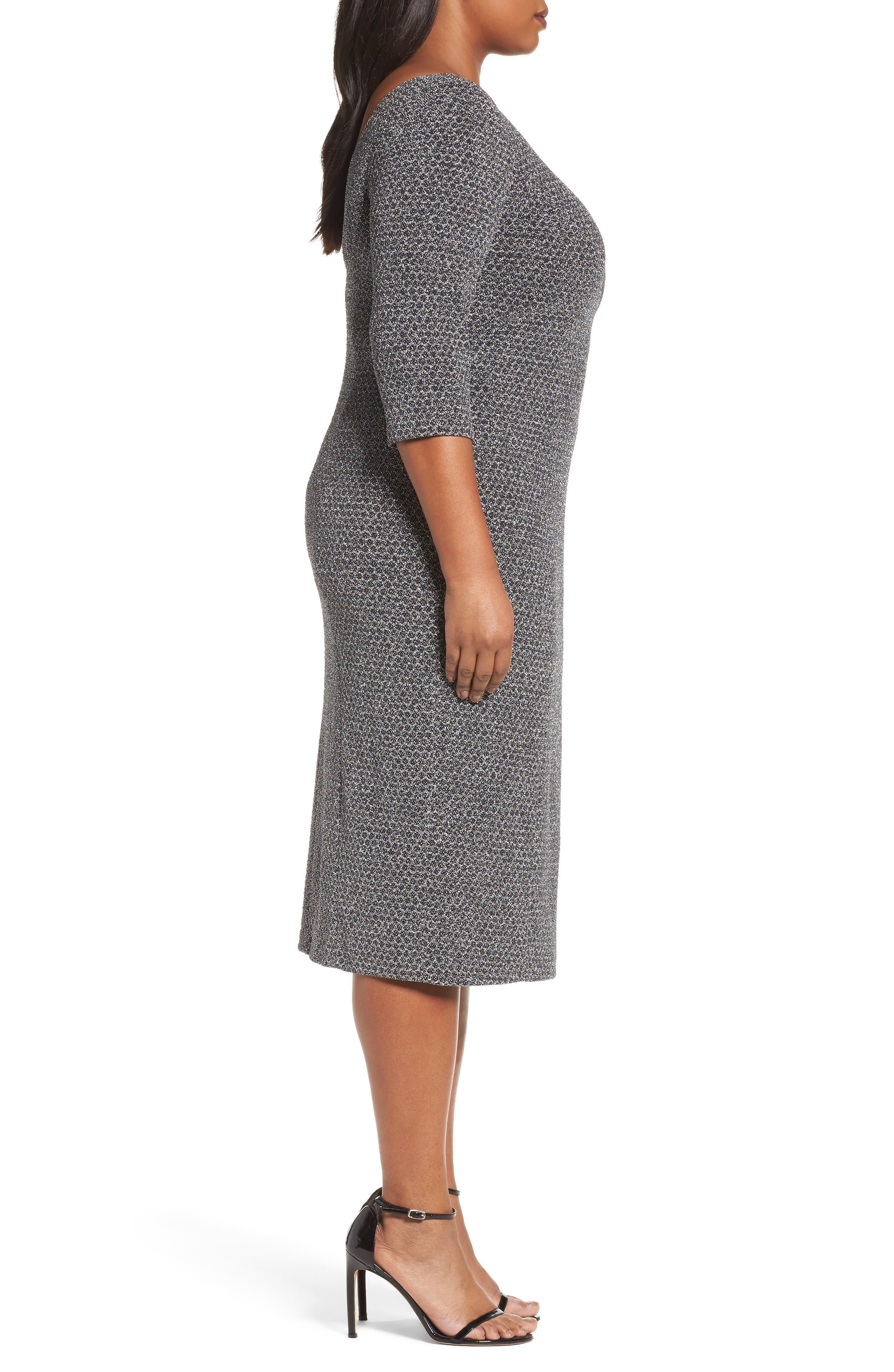 Glitter Knit Sheath Dress,                             Alternate thumbnail 4, color,                             Gunmetal/ Black
