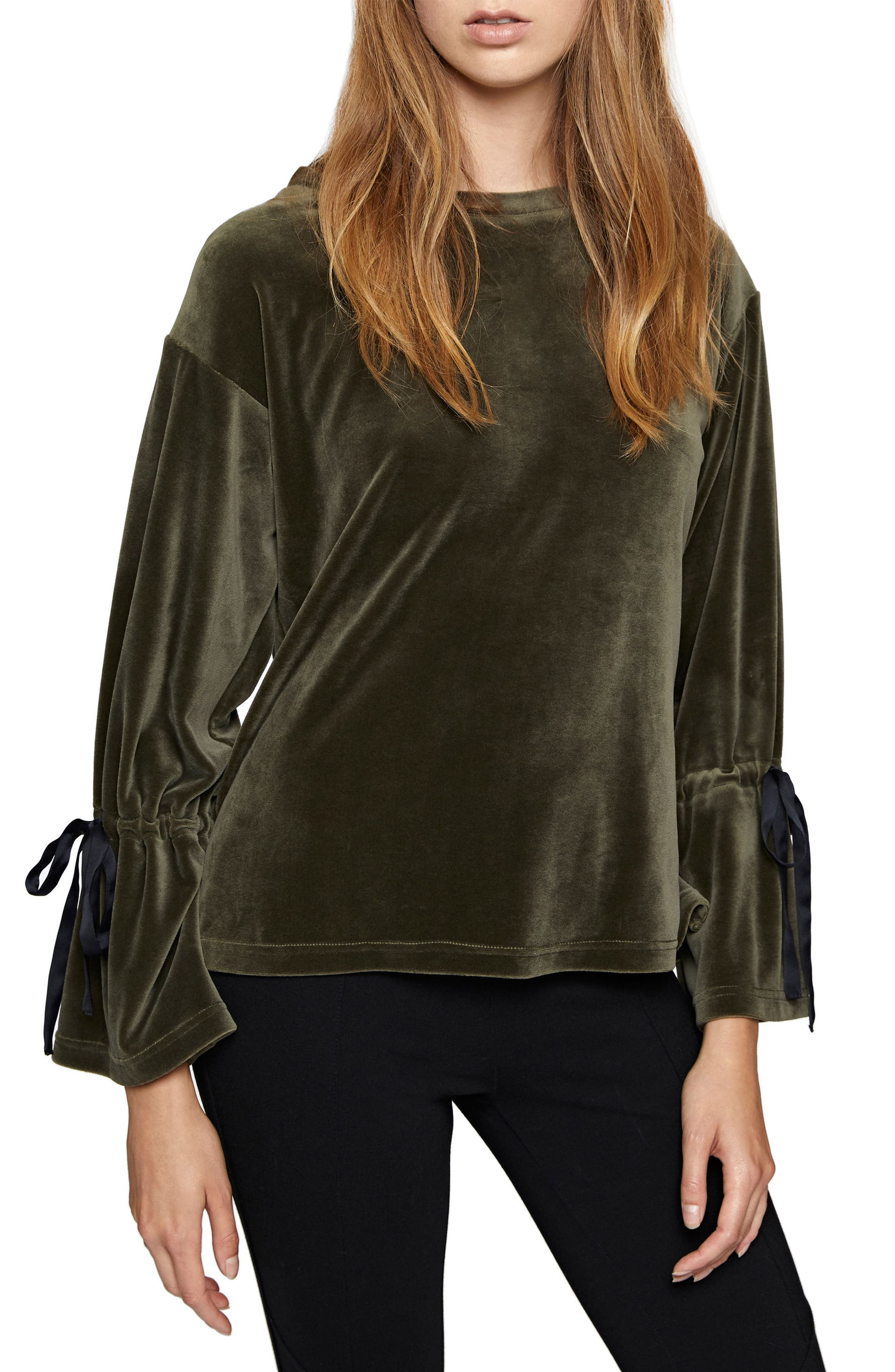 Tierney Tie Sleeve Velour Top,                         Main,                         color, Dark Fatigue