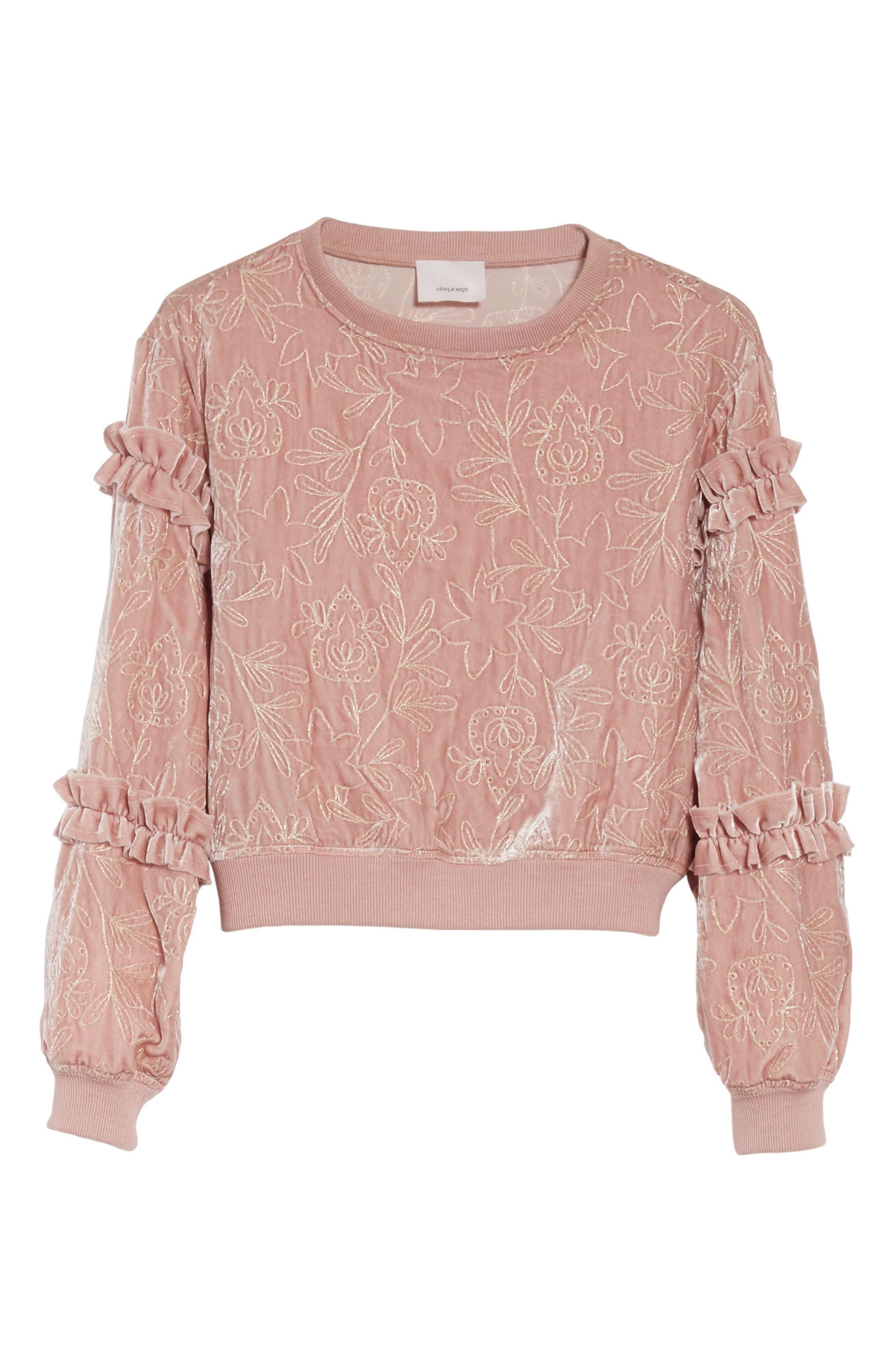 Nara Embroidered Velvet Sweatshirt,                             Alternate thumbnail 6, color,                             Mauve