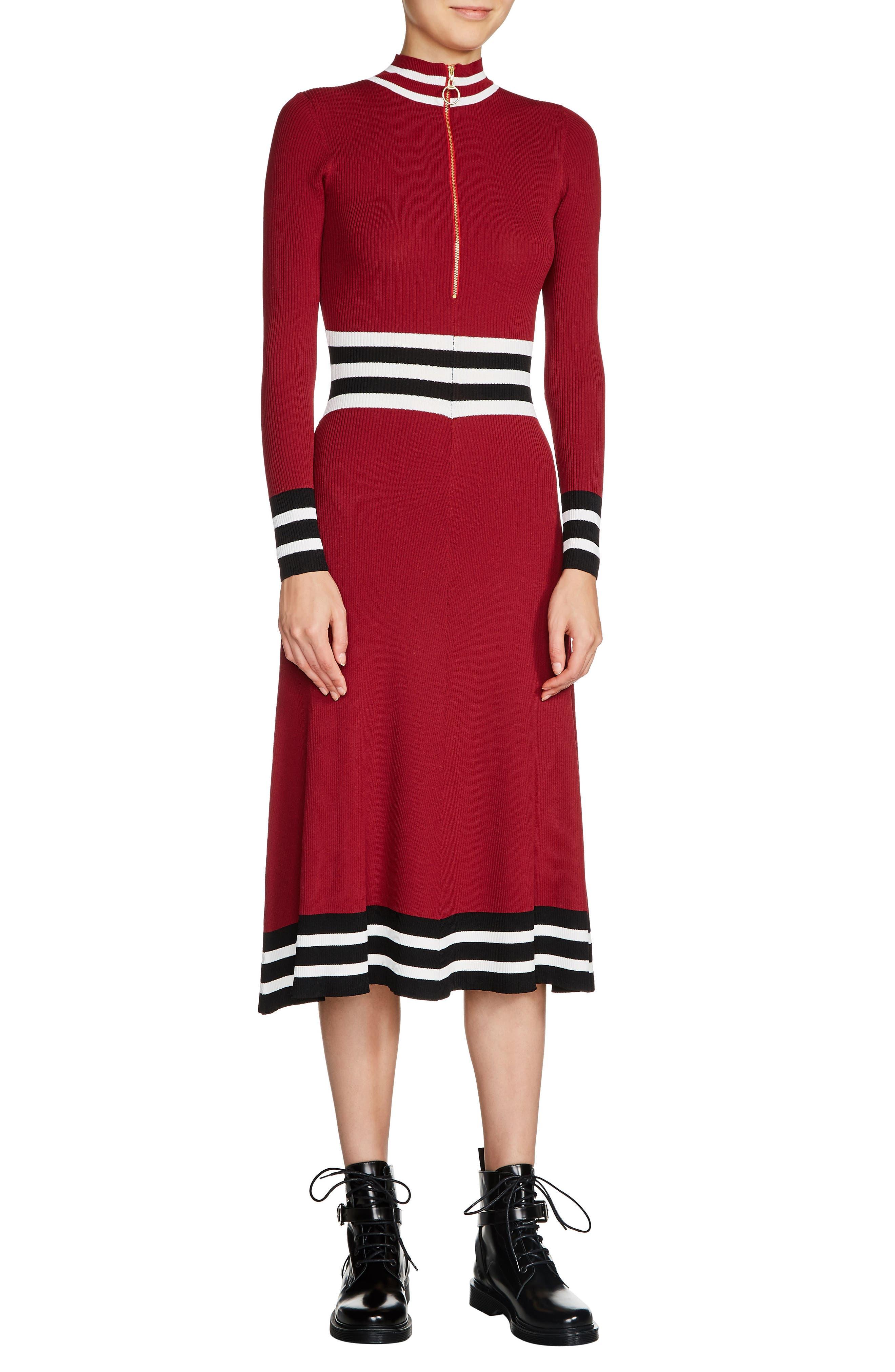 maje Zip Neck Midi Sweater Dress