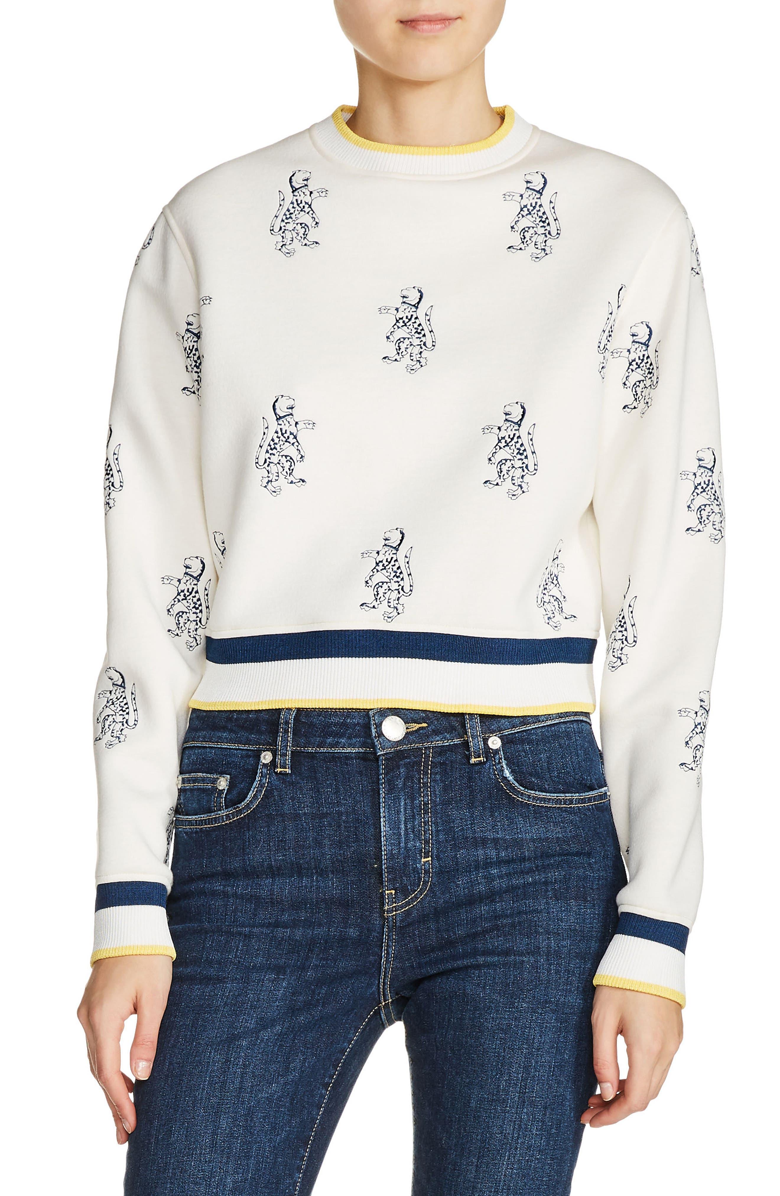 Main Image - maje Tiger Embroidered Crop Sweatshirt