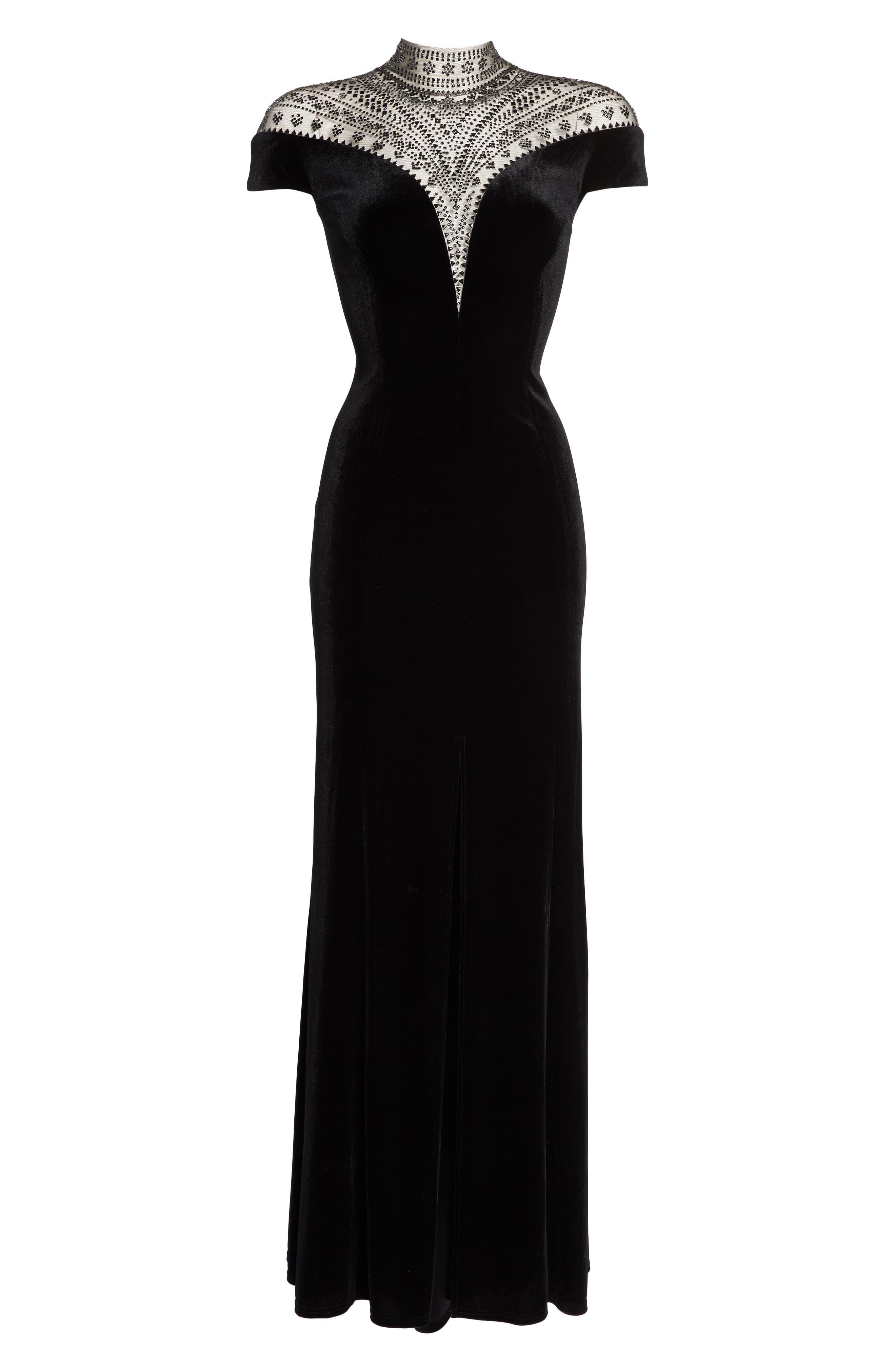 Embellished Deep V-Neck Velvet Gown,                             Alternate thumbnail 6, color,                             Black
