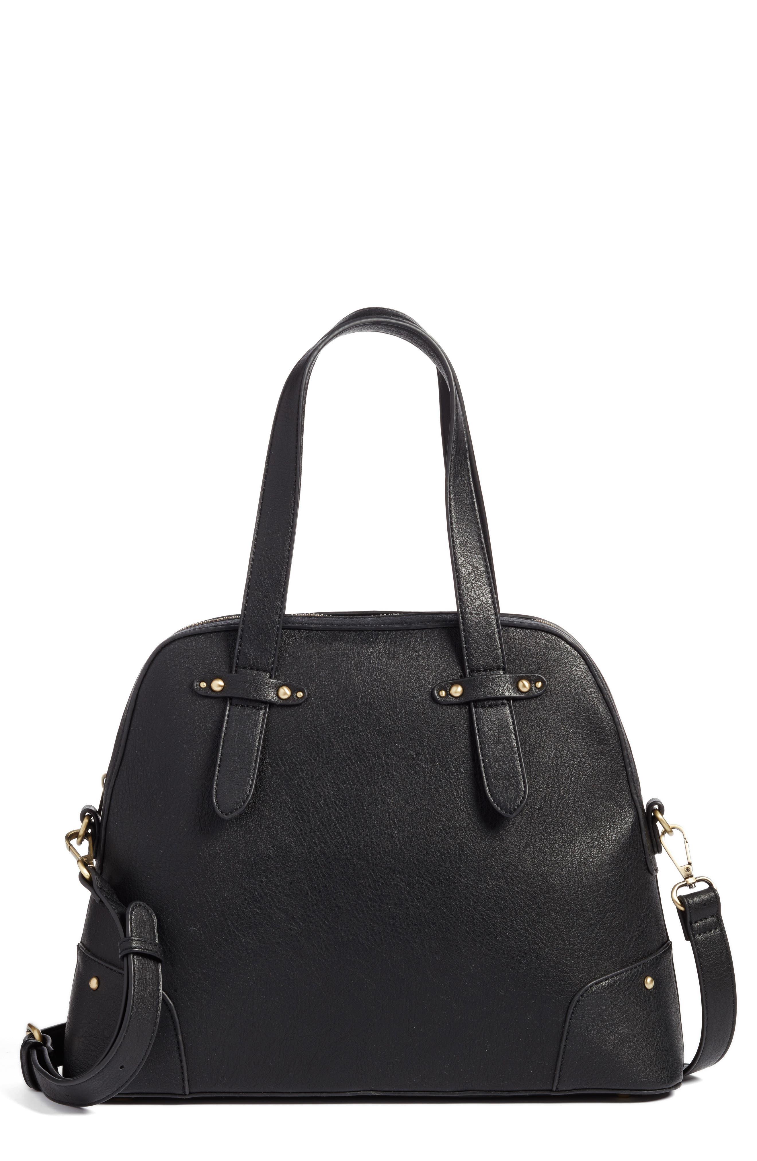 Christie Faux Leather Satchel,                             Main thumbnail 1, color,                             Black