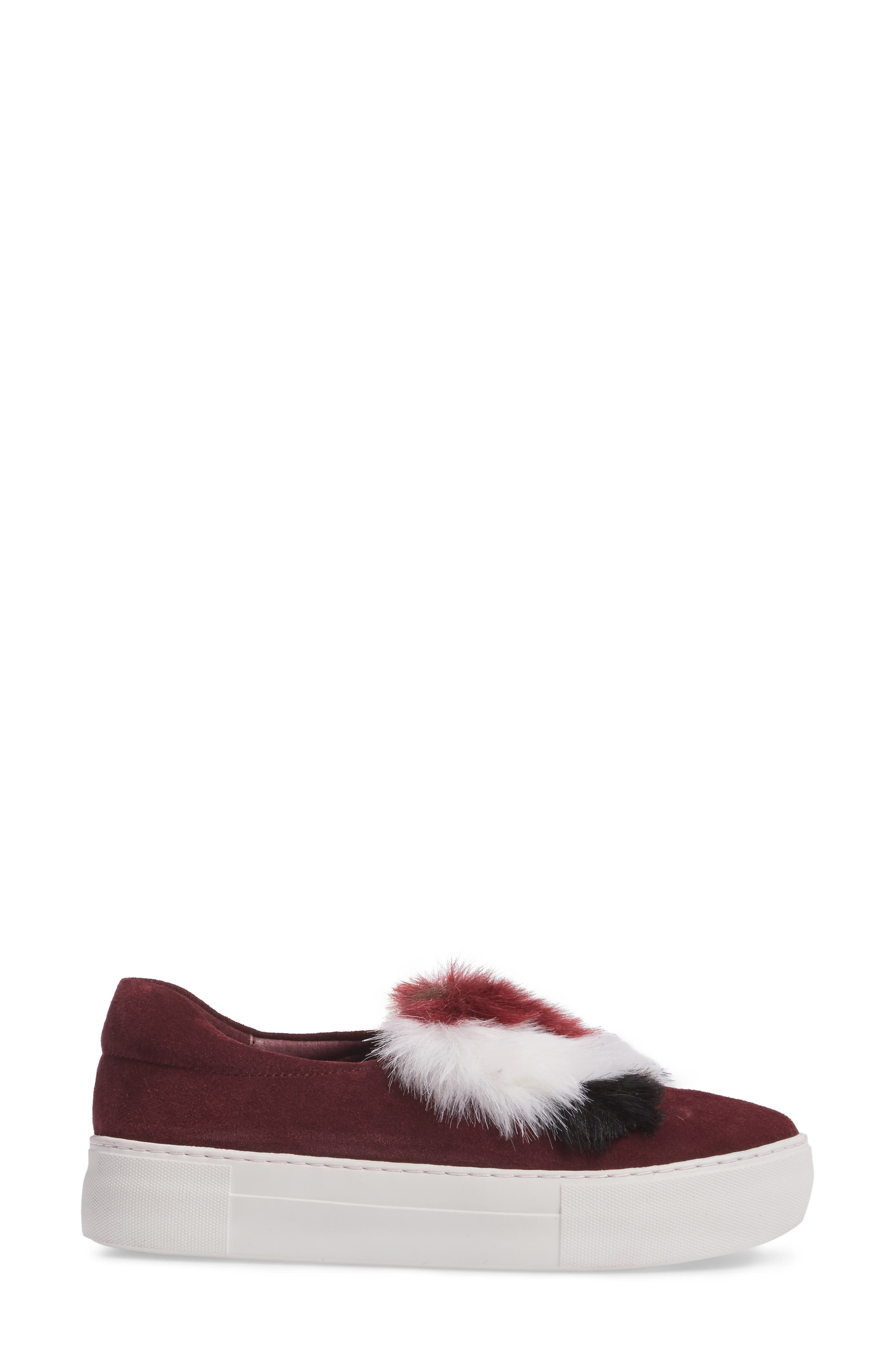 Alexi Faux Fur Slip-On Sneaker,                             Alternate thumbnail 3, color,                             Burgundy Suede
