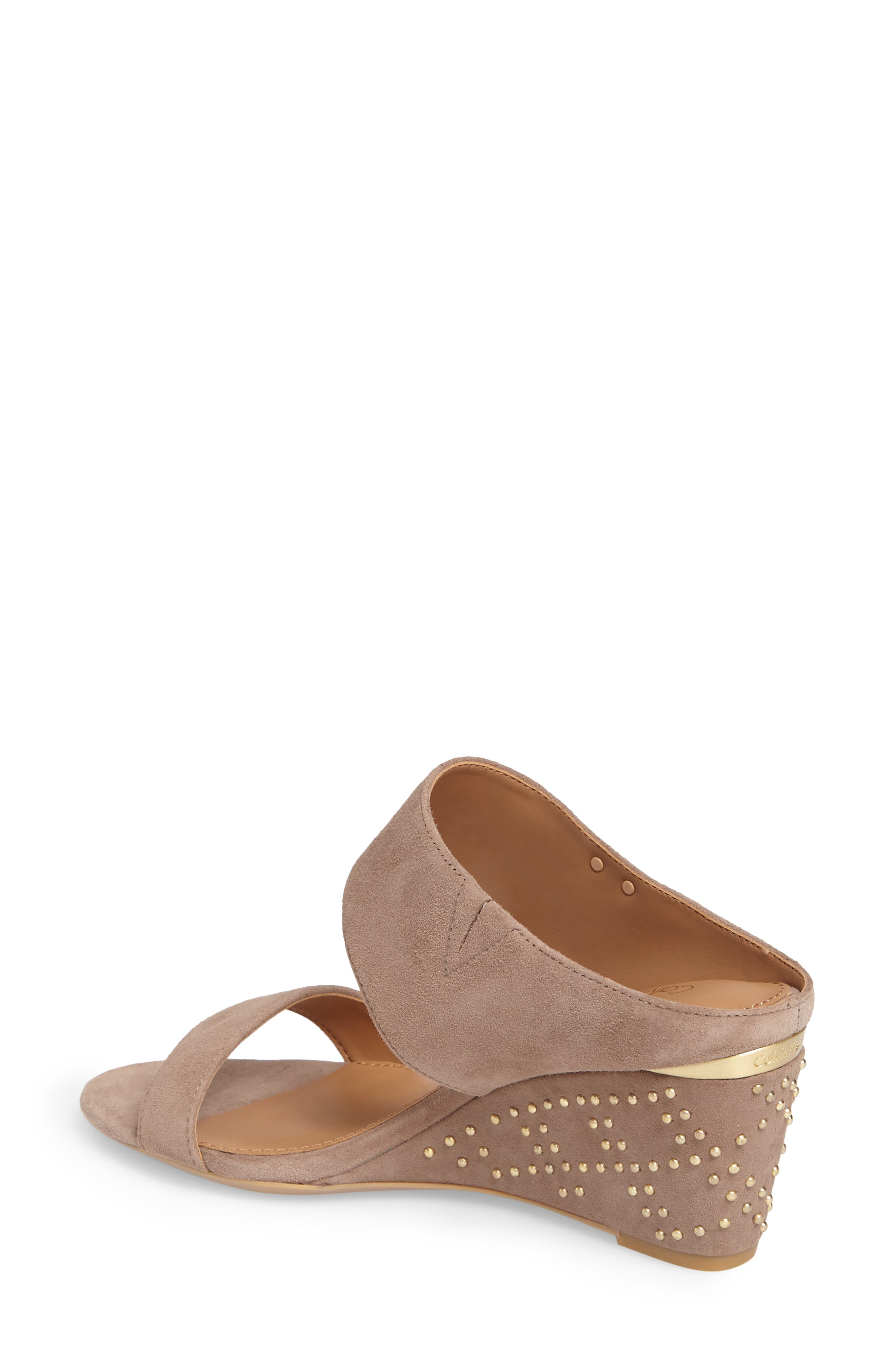 Phyllis Studded Wedge Sandal,                             Alternate thumbnail 2, color,                             Winter Taupe Suede