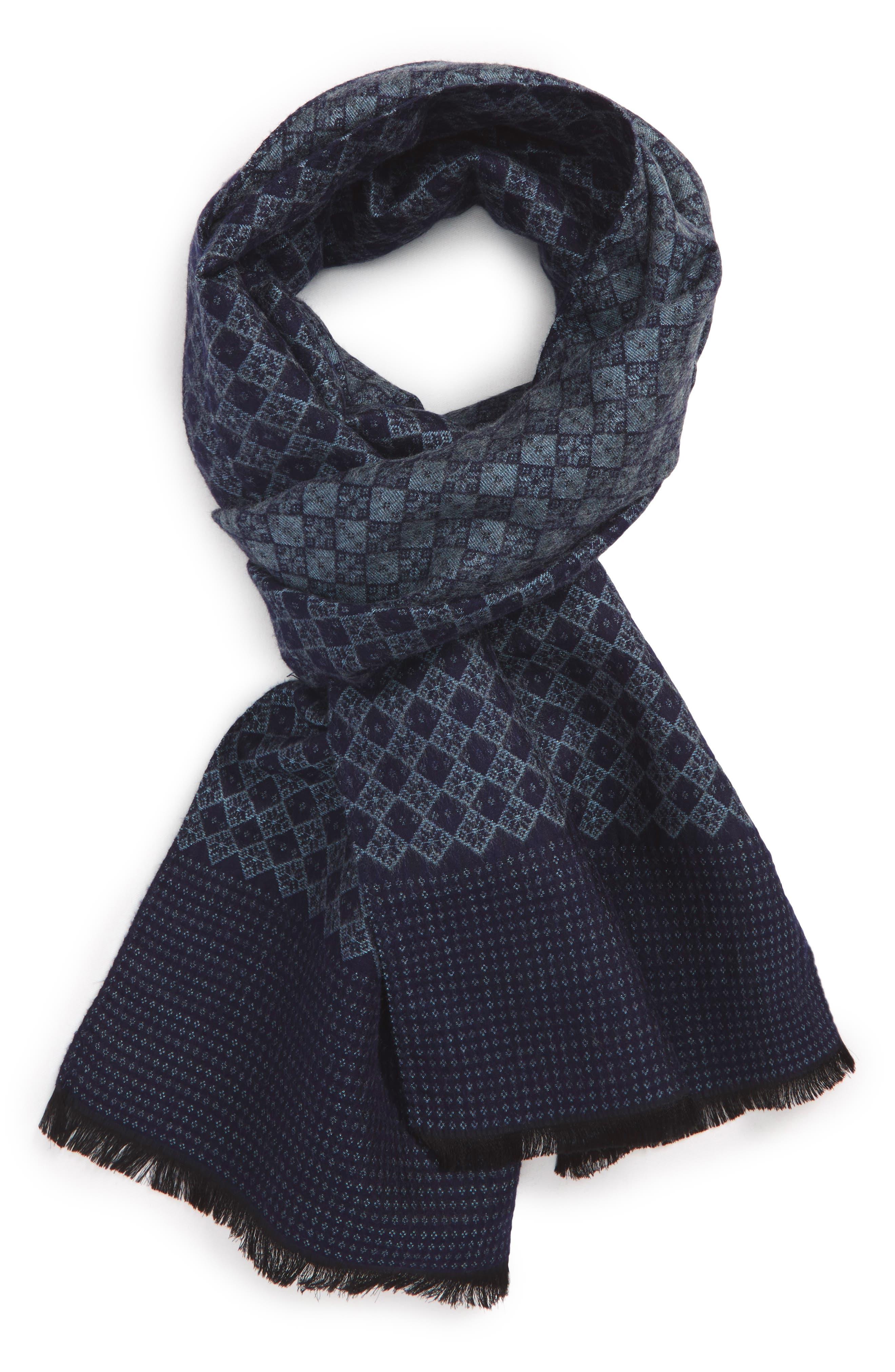 Diamond Weave Silk Blend Scarf,                         Main,                         color, Navy Midnight
