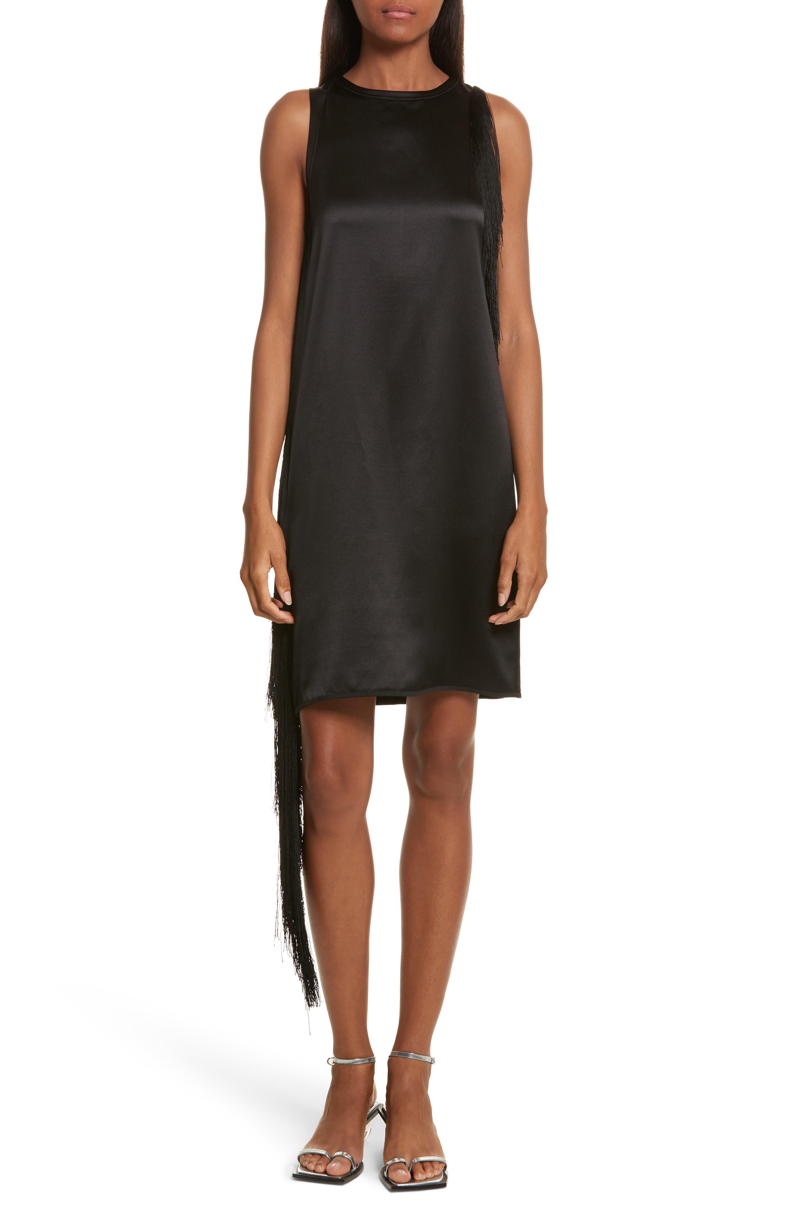 Fringe Silk Minidress,                         Main,                         color, Black