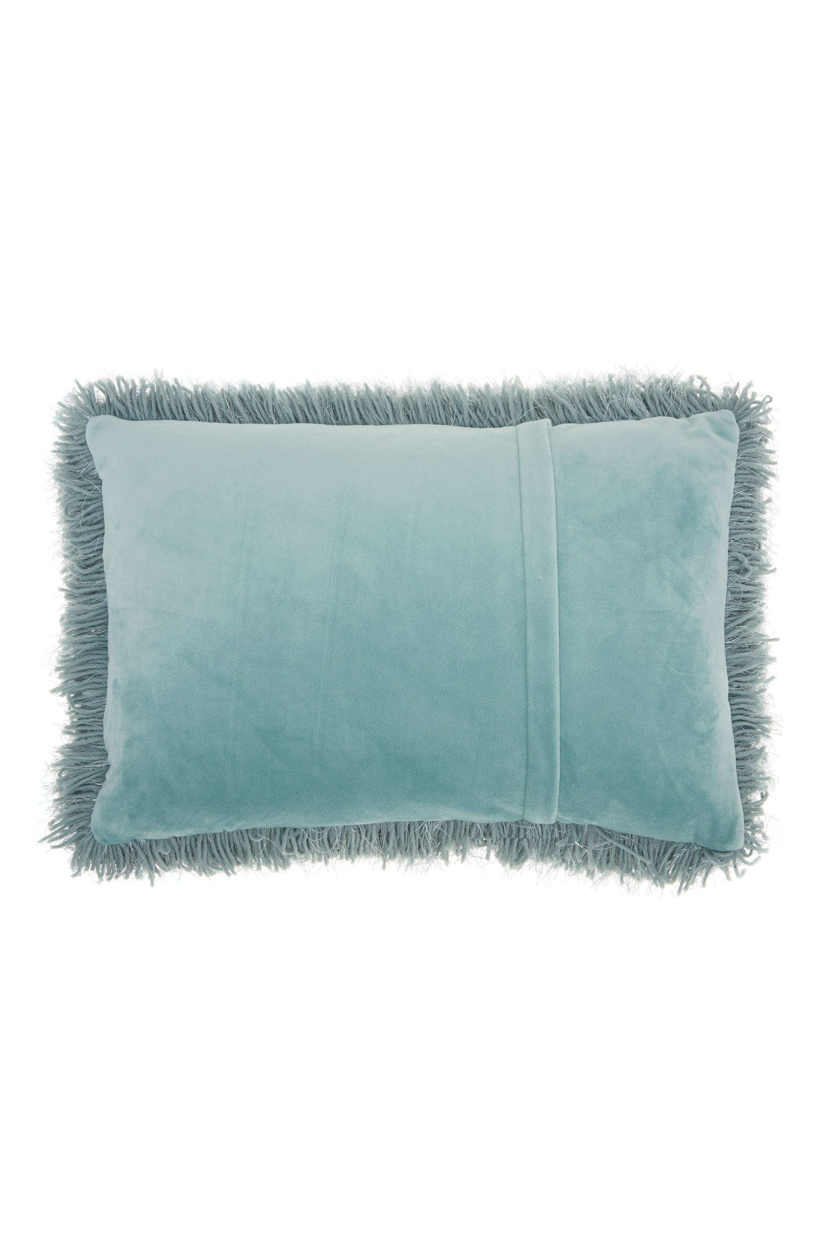 Yarn Shimmer Shag Pillow,                             Alternate thumbnail 2, color,                             Celadon