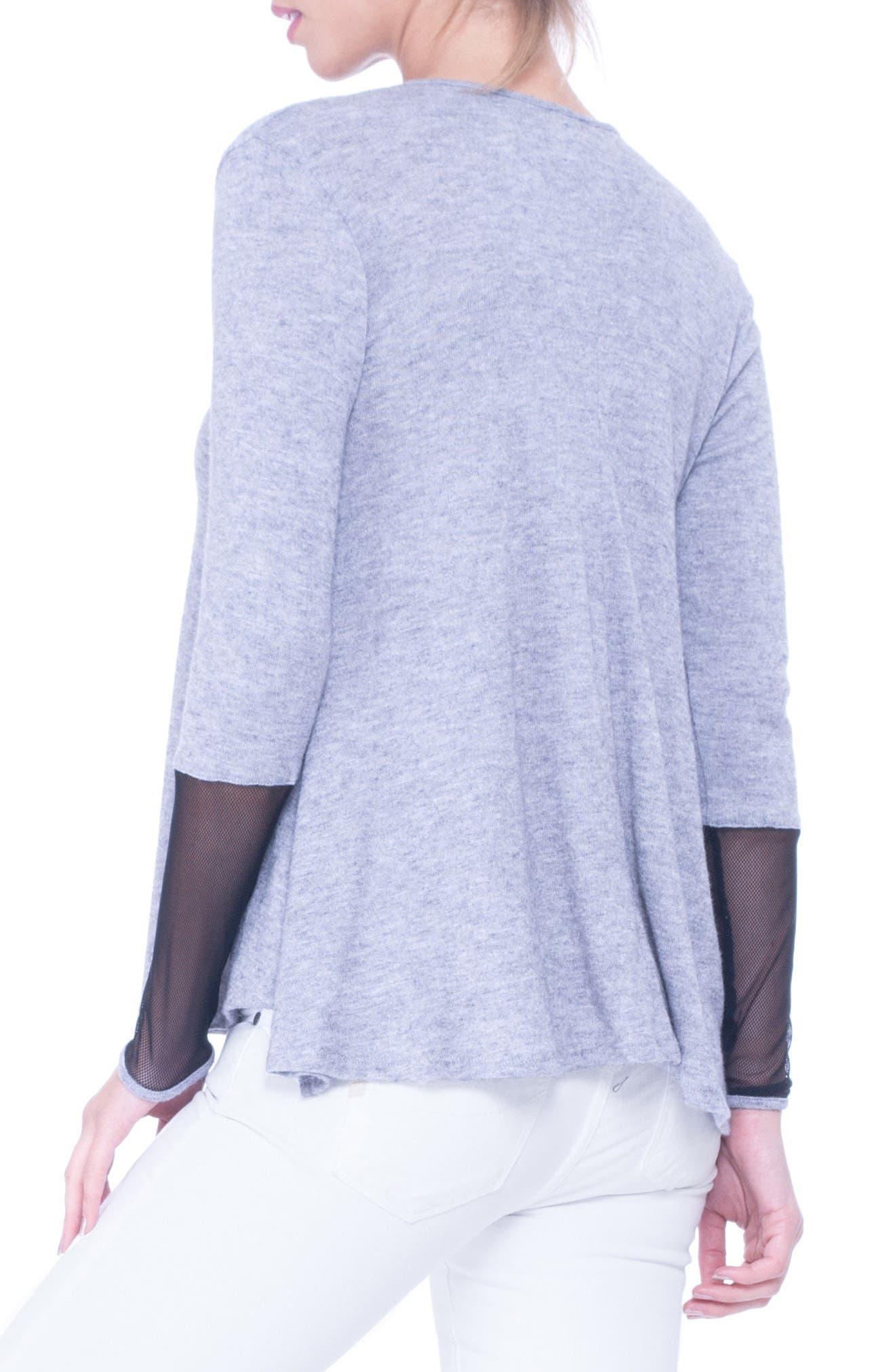 Valerie Mesh Detail Maternity Sweater,                             Alternate thumbnail 3, color,                             Glacier Grey