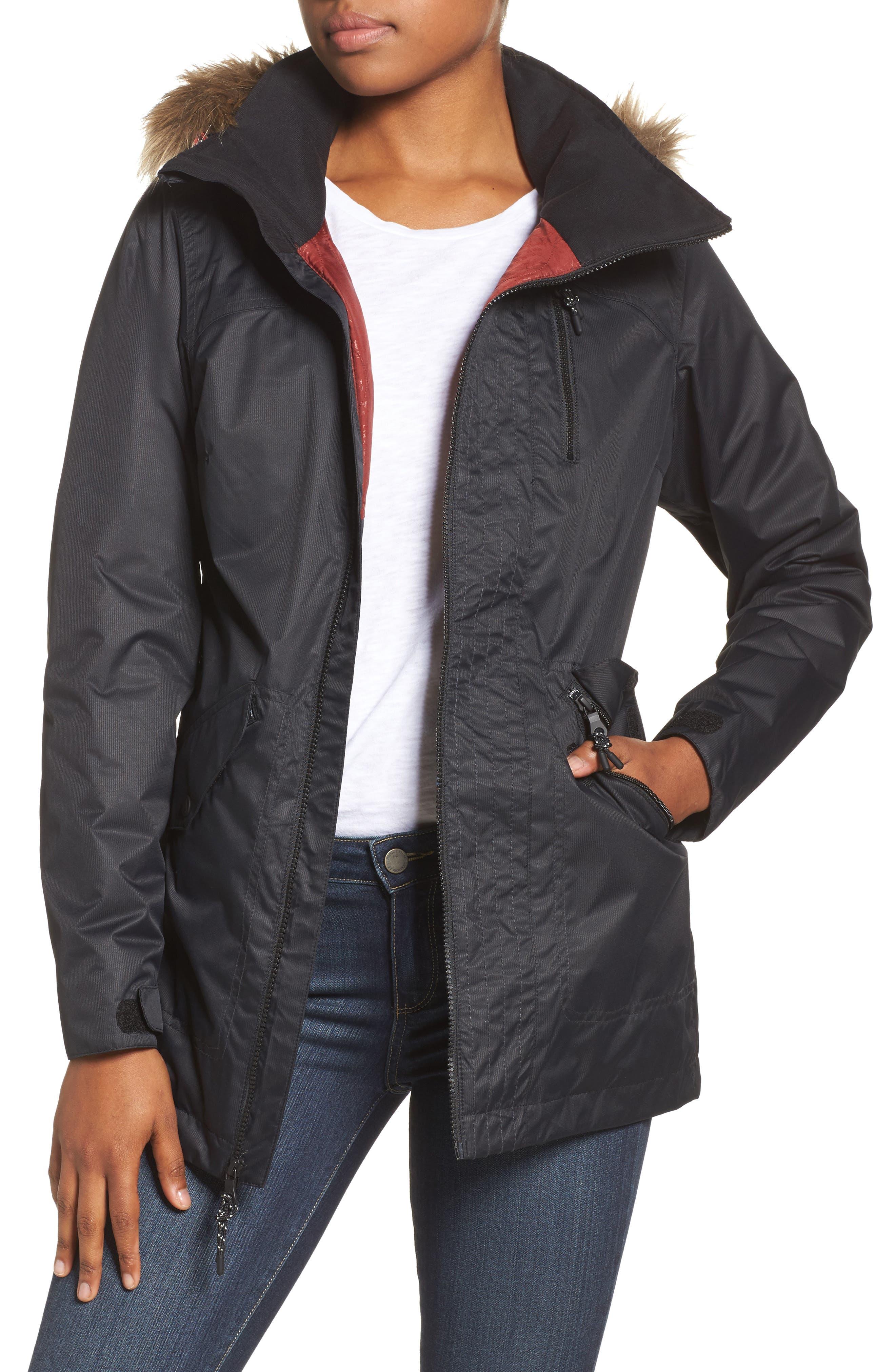 Hazel Waterproof Hooded Jacket with Removable Faux Fur Trim,                         Main,                         color, True Black