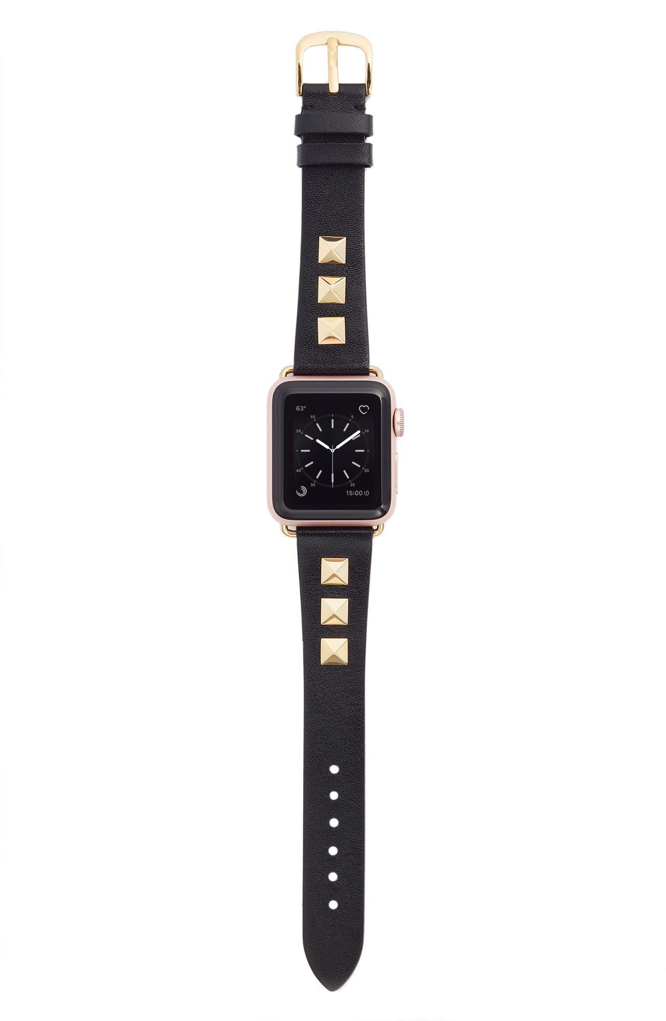 Bezels & Bytes Studded Leather Apple Watch Strap, 42mm