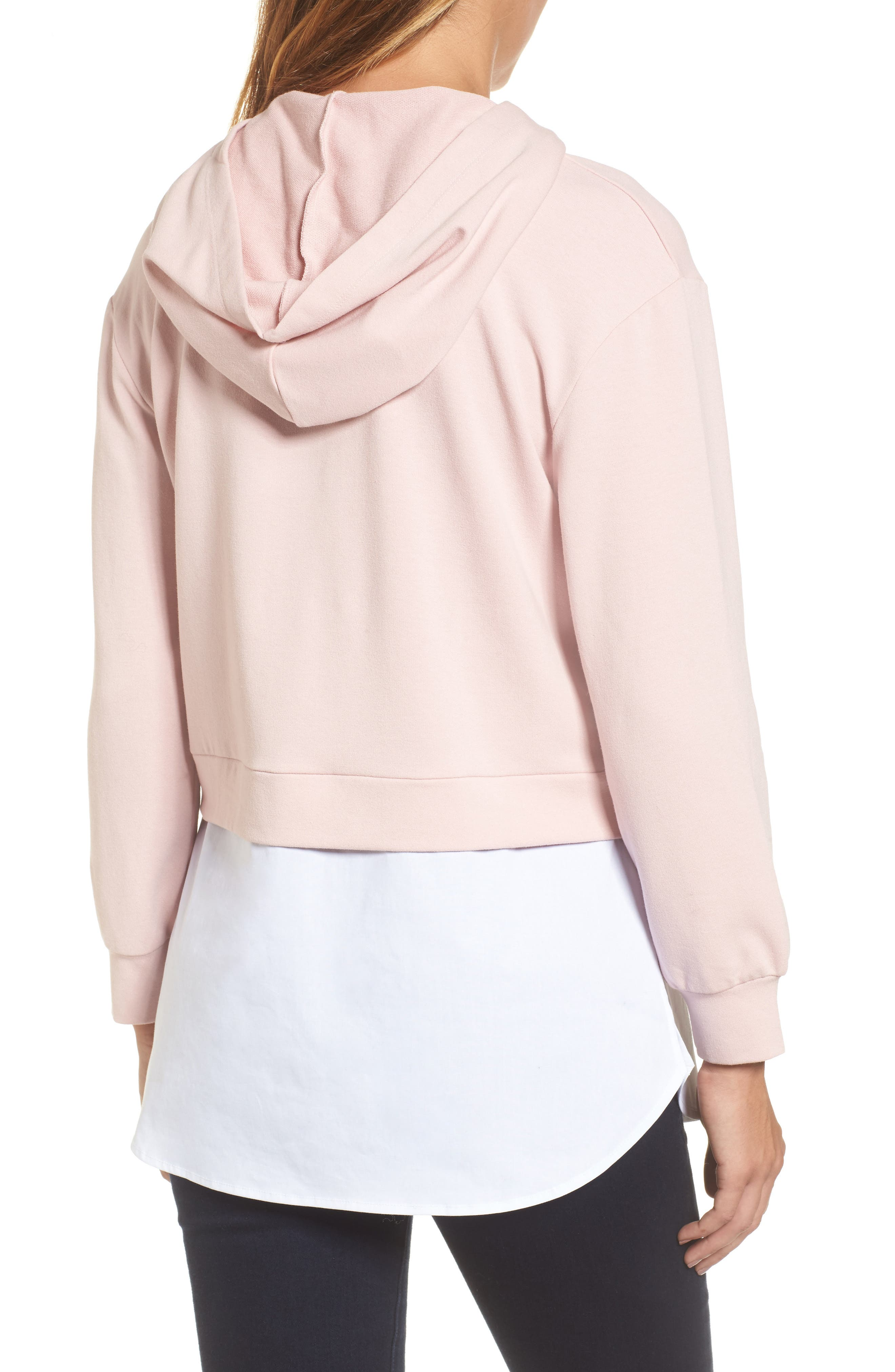 Layered Look Hoodie,                             Alternate thumbnail 2, color,                             Dusty Pink