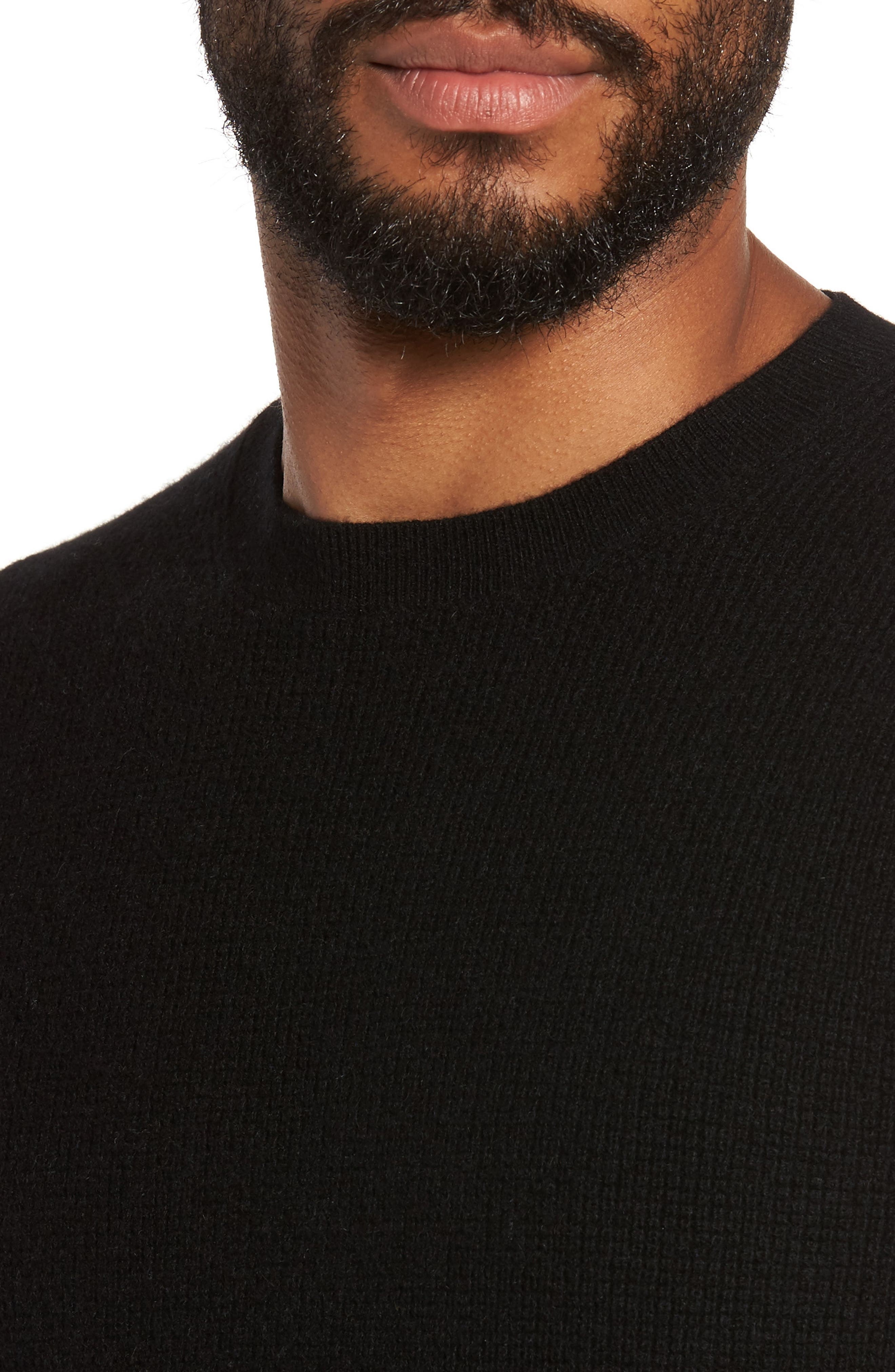Thermal Wool & Cashmere Sweater,                             Alternate thumbnail 4, color,                             Black