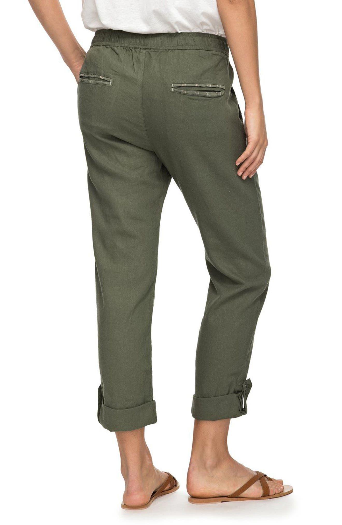 Symphony Lover Linen Blend Pants,                             Alternate thumbnail 3, color,                             Dusty Olive