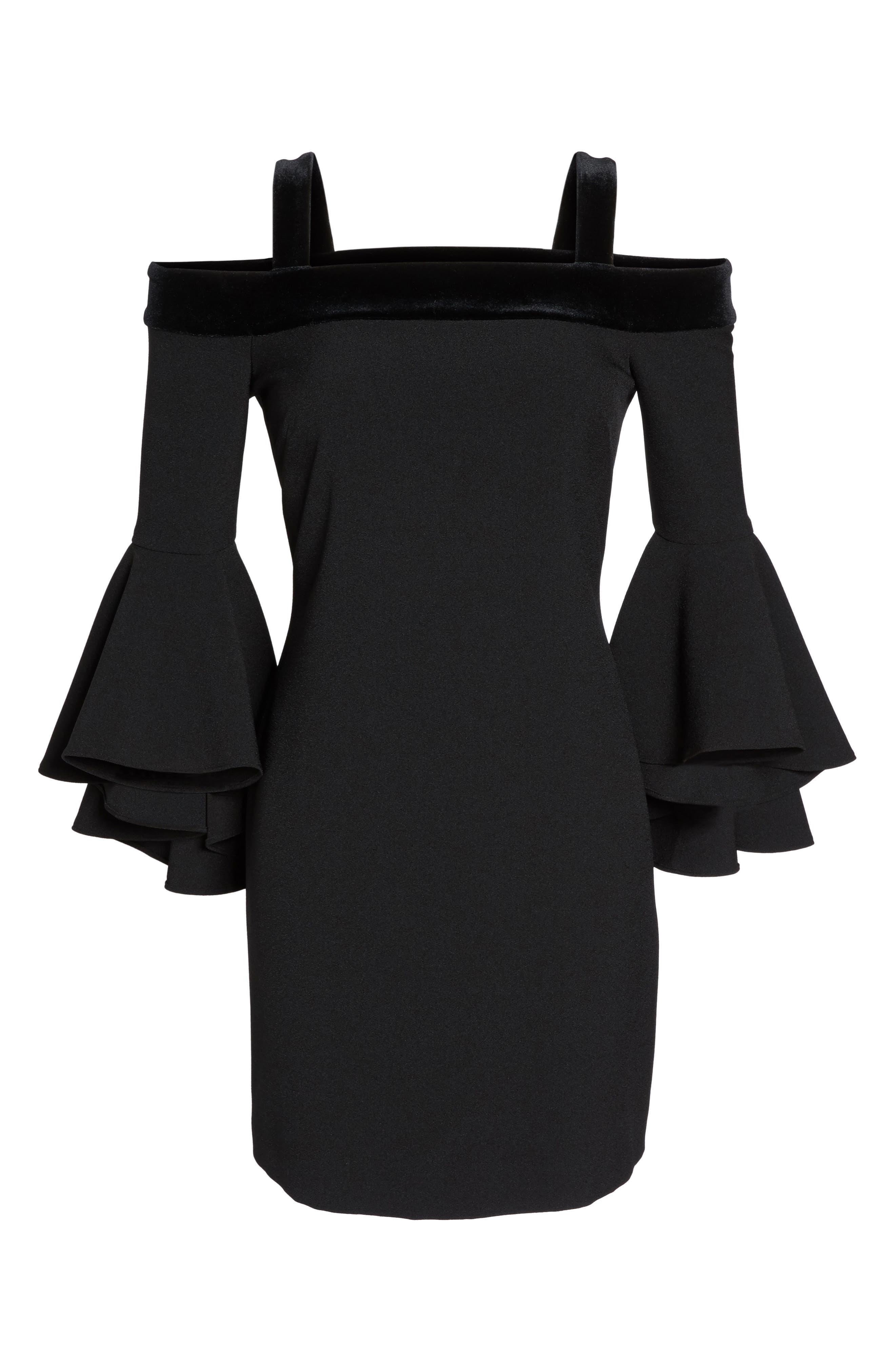 Bell Sleeve Cold Shoulder Shift Dress,                             Alternate thumbnail 6, color,                             Black