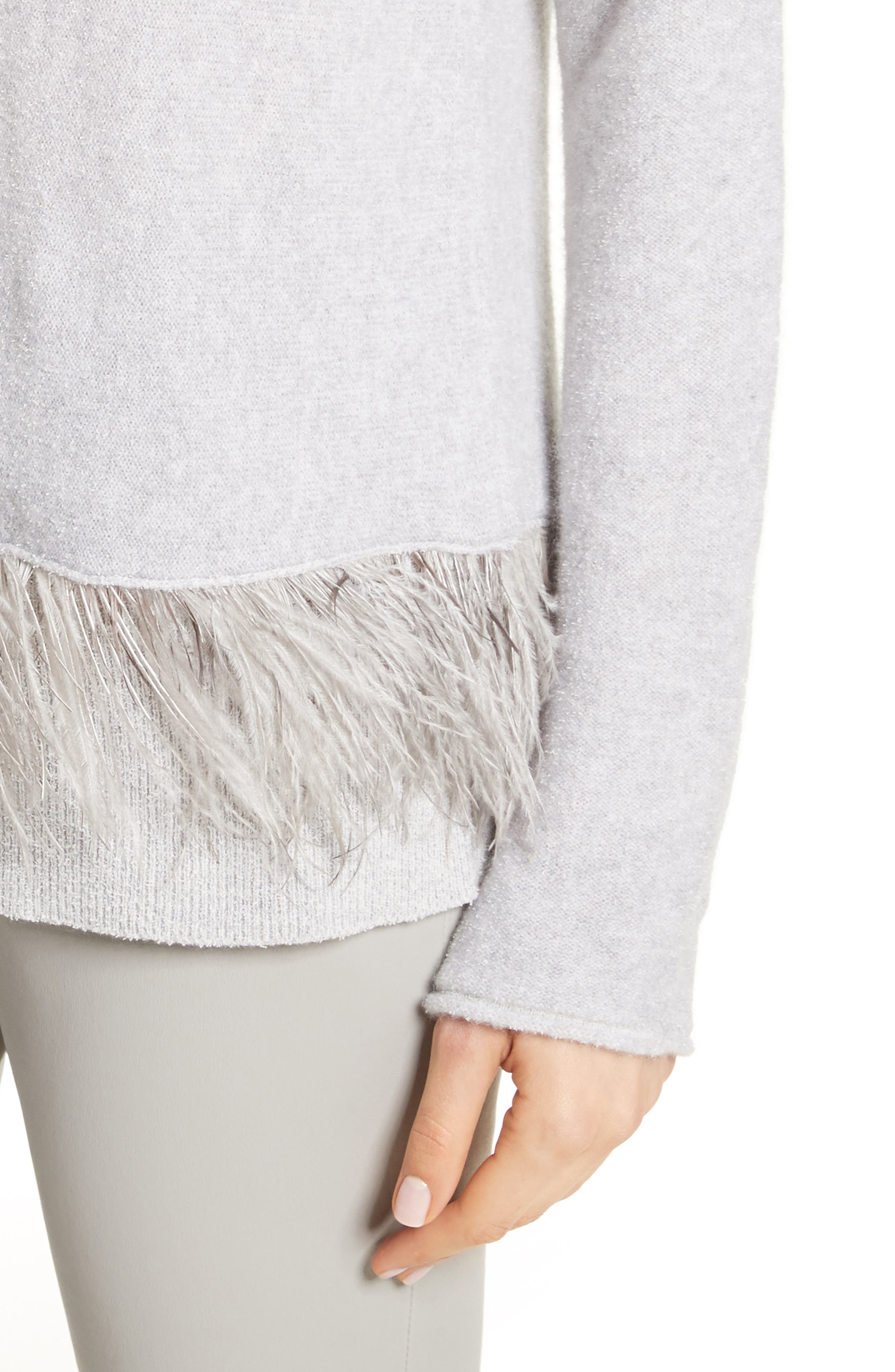 Cashmere Blend Sweater with Genuine Ostrich & Turkey Feather Trim,                             Alternate thumbnail 4, color,                             Grey