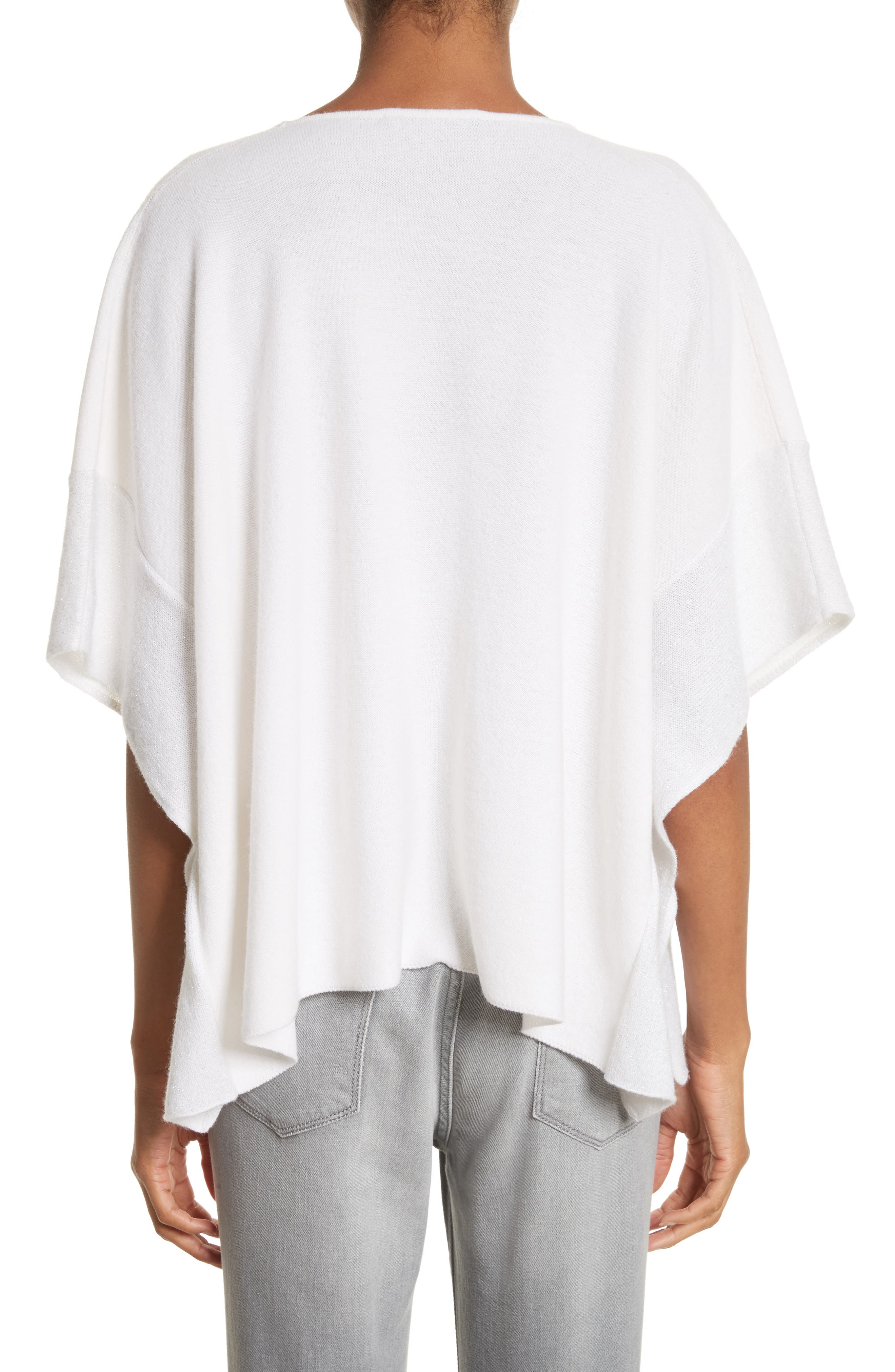 Metallic Cashmere Flutter Sleeve Poncho Sweater,                             Alternate thumbnail 2, color,                             Pure White