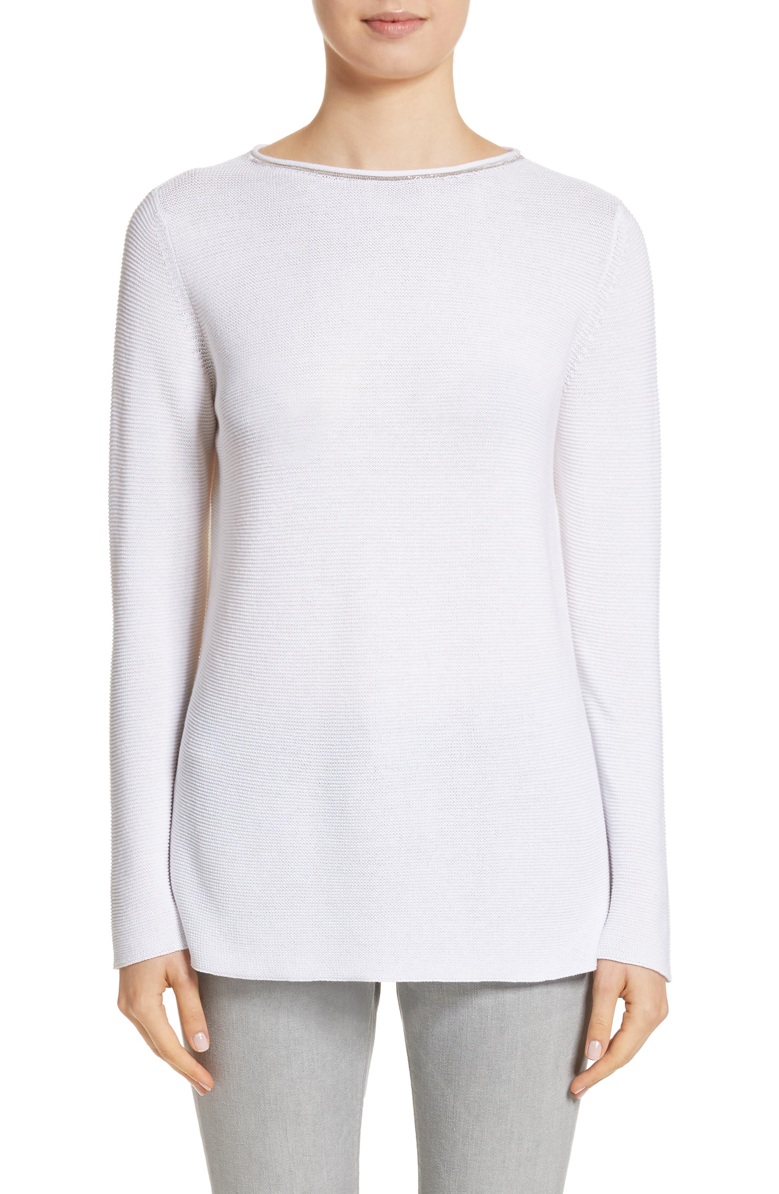 Popcorn Stitch Cotton Pullover,                         Main,                         color, Pure White