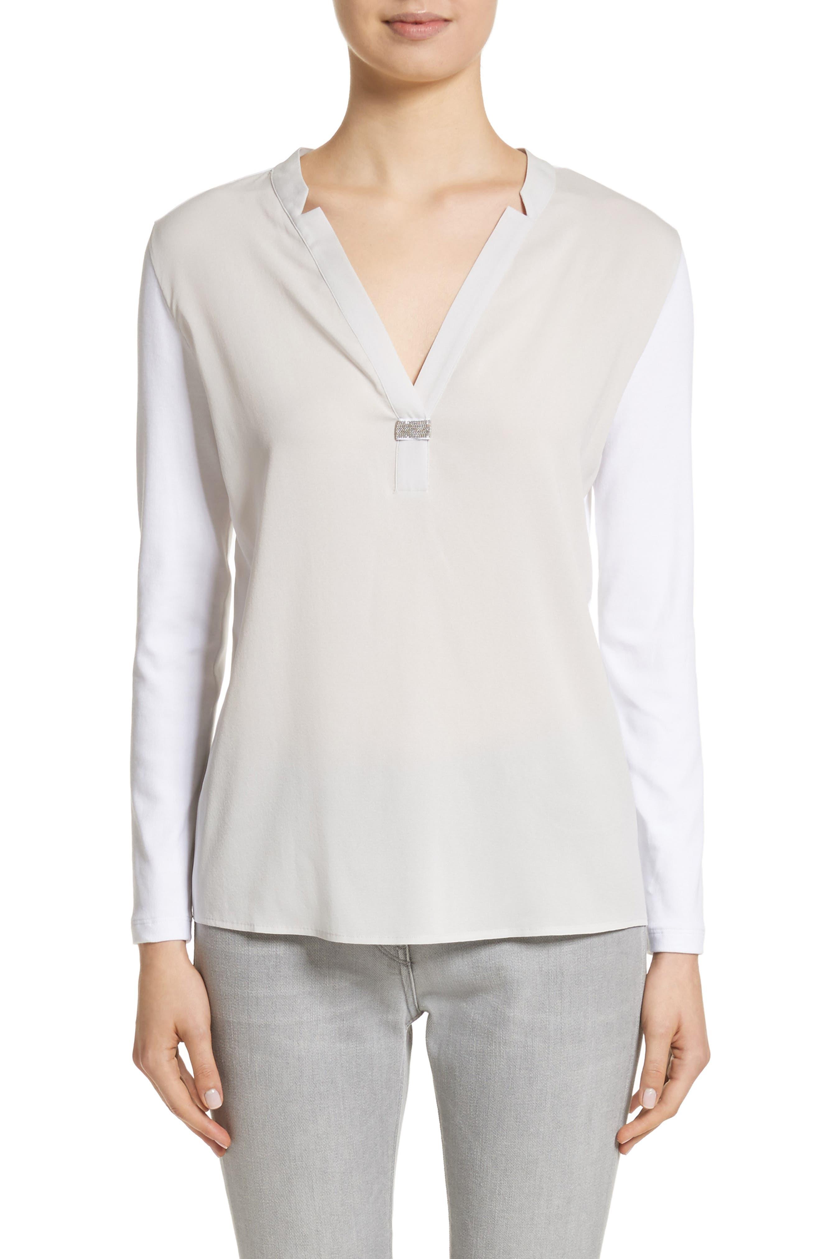 Crêpe de Chine & Ribbed Jersey Blouse,                             Main thumbnail 1, color,                             Pearl Grey