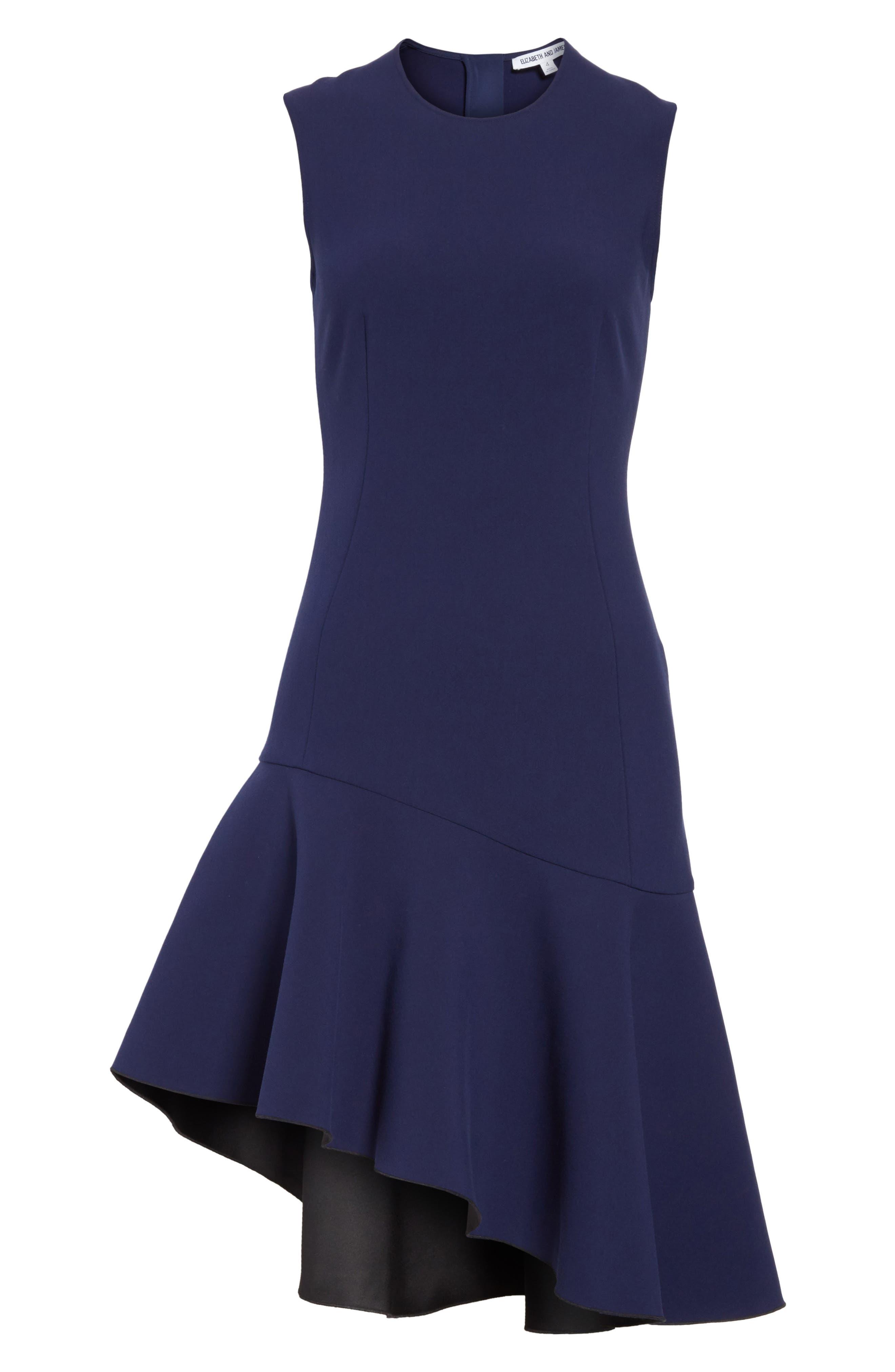 Dev Ruffle Fit & Flare Dress,                             Alternate thumbnail 6, color,                             Blue Violet/ Black