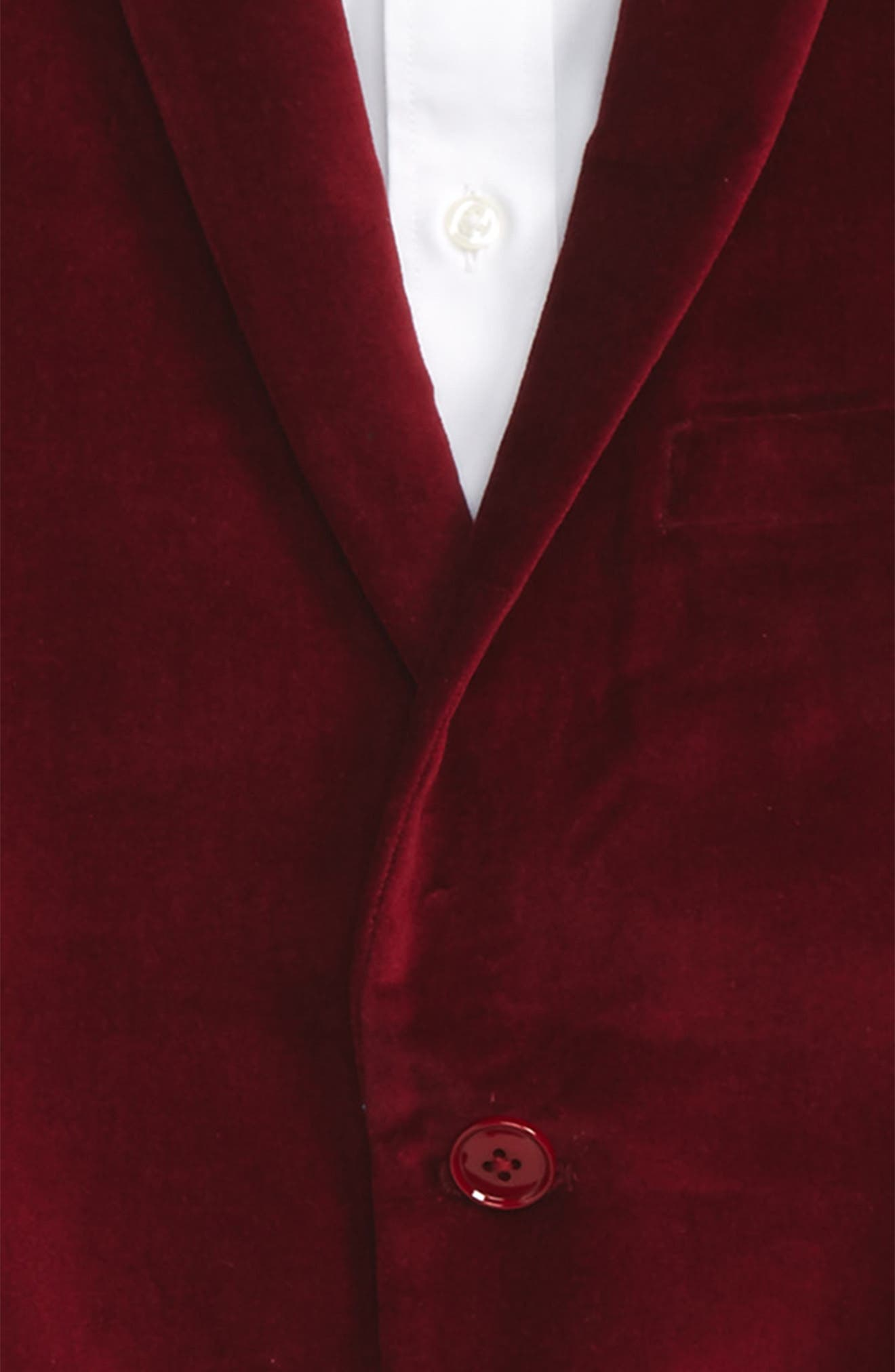 Velvet Blazer,                             Alternate thumbnail 2, color,                             Red