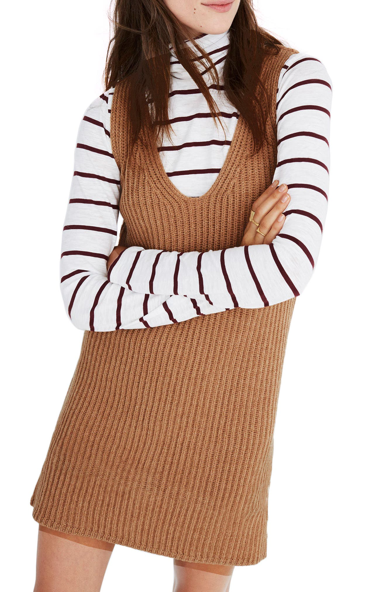 Tunic Sweater Dress,                         Main,                         color, Heather Saddle
