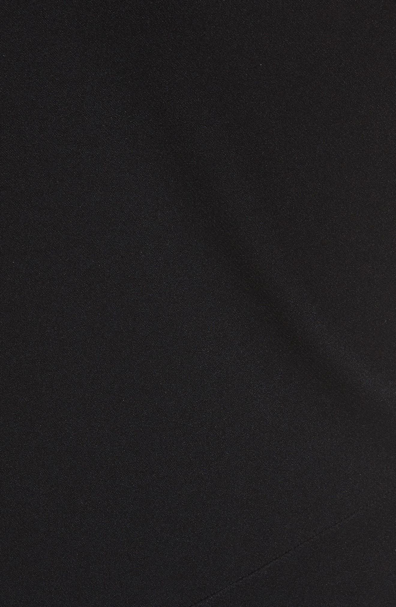 One-Shoulder Midi Dress,                             Alternate thumbnail 5, color,                             Black