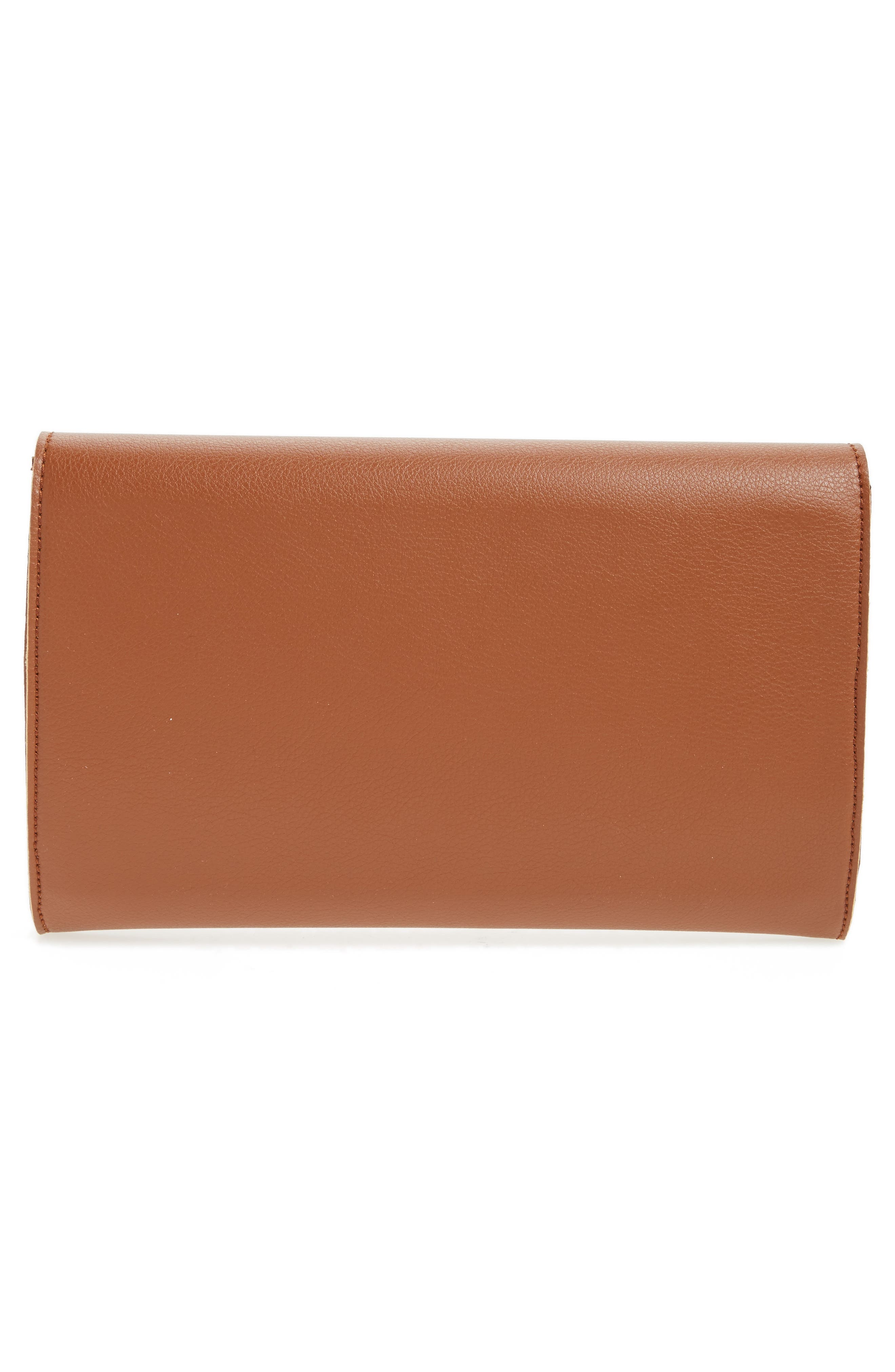 Chain Faux Leather Envelope Clutch,                             Alternate thumbnail 2, color,                             Cognac