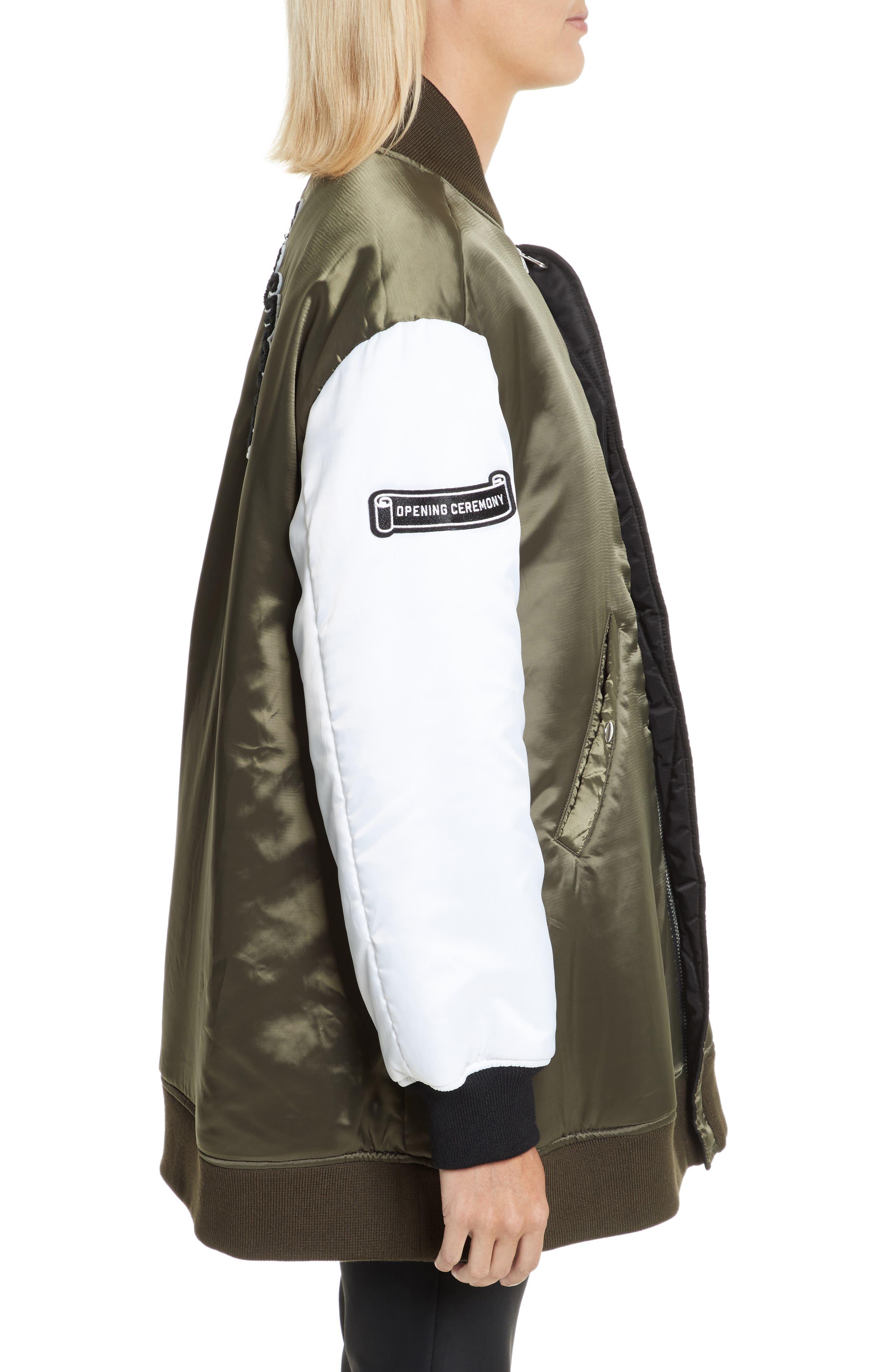 Reversible Babydoll Bomber Jacket,                             Alternate thumbnail 4, color,                             Black/ Green
