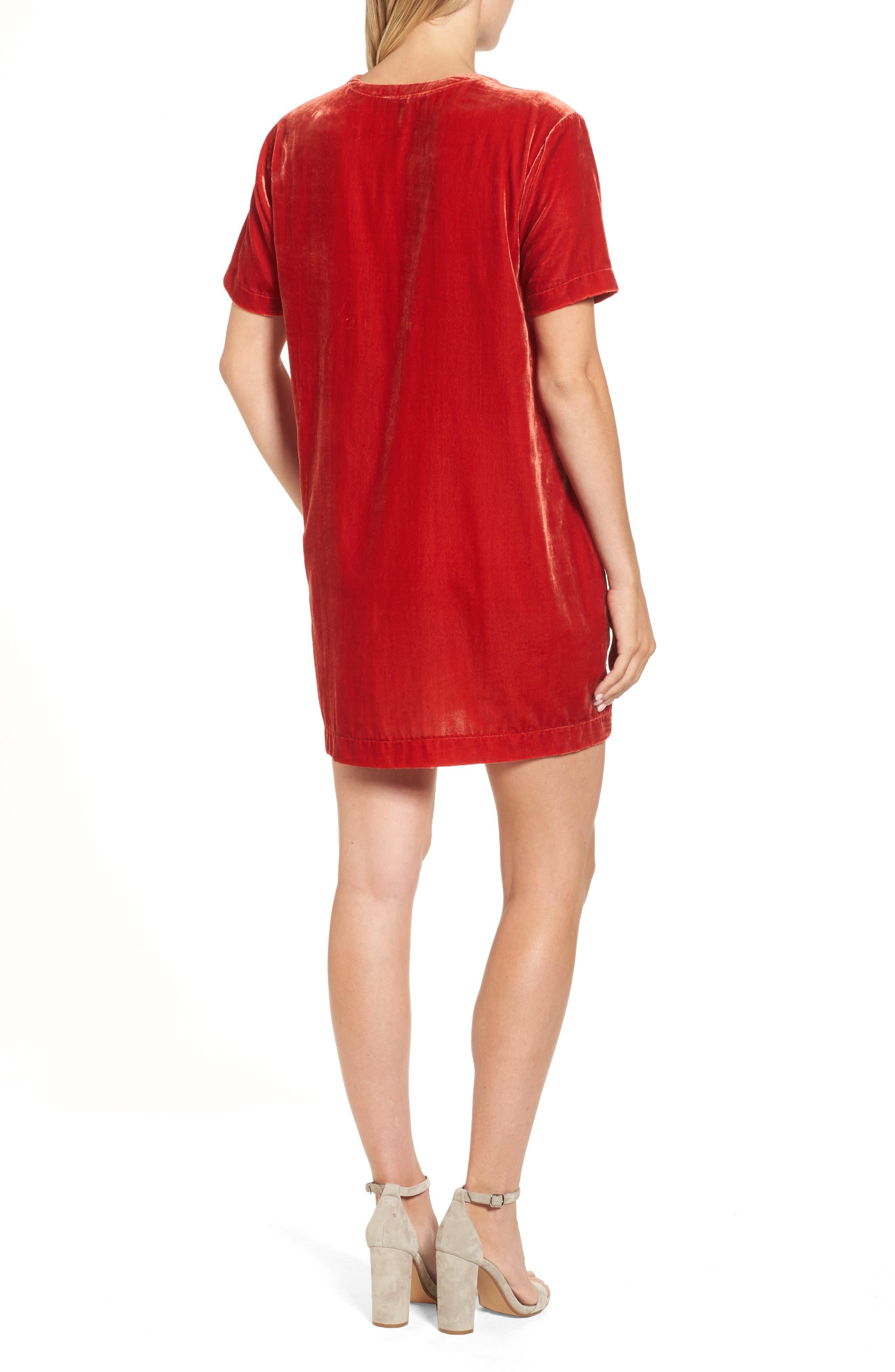 Zip Shoulder Velvet Shift Dress,                             Alternate thumbnail 2, color,                             Cherry
