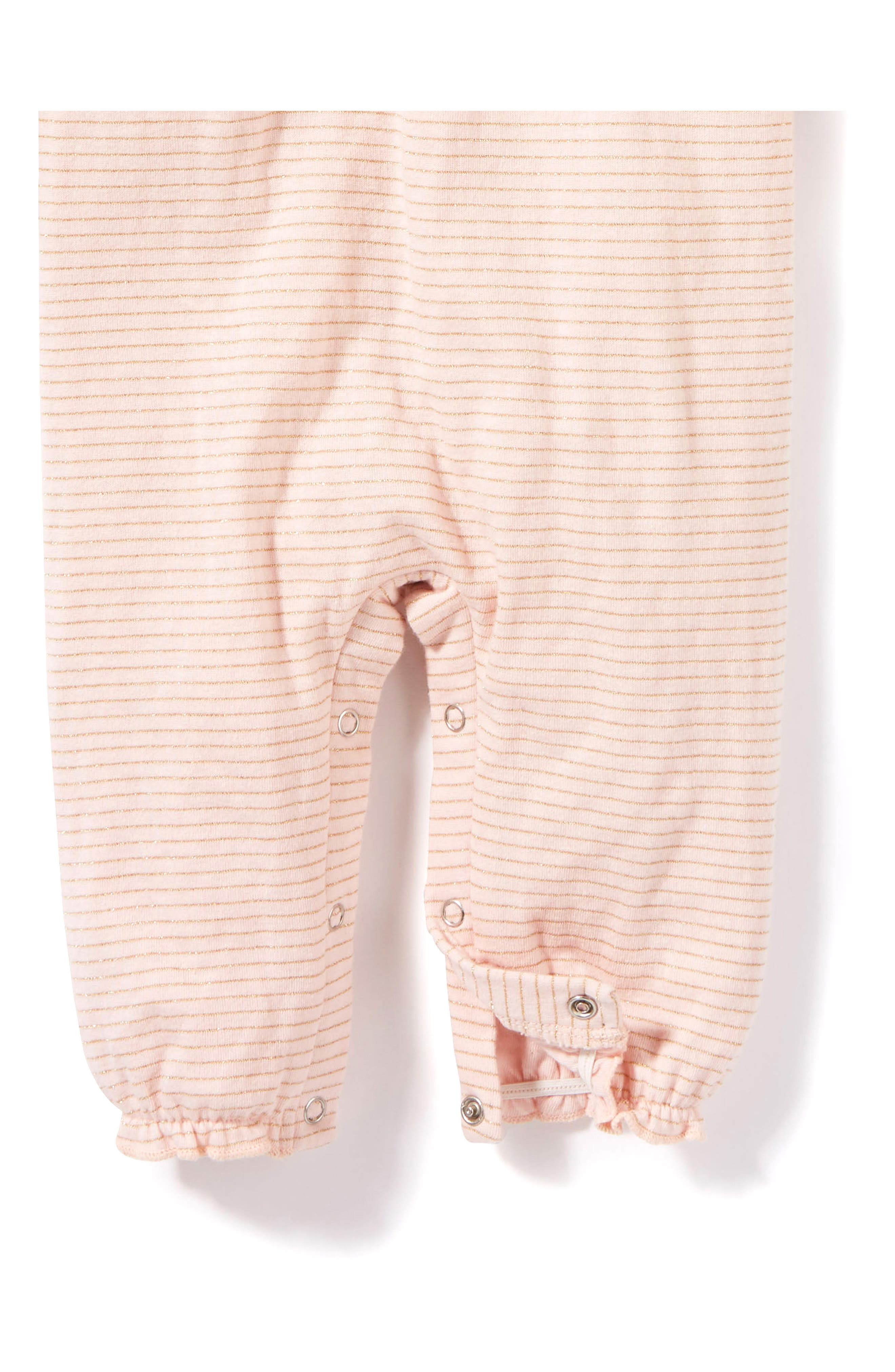 Alternate Image 2  - Peek Stripe Romper (Baby Girls)