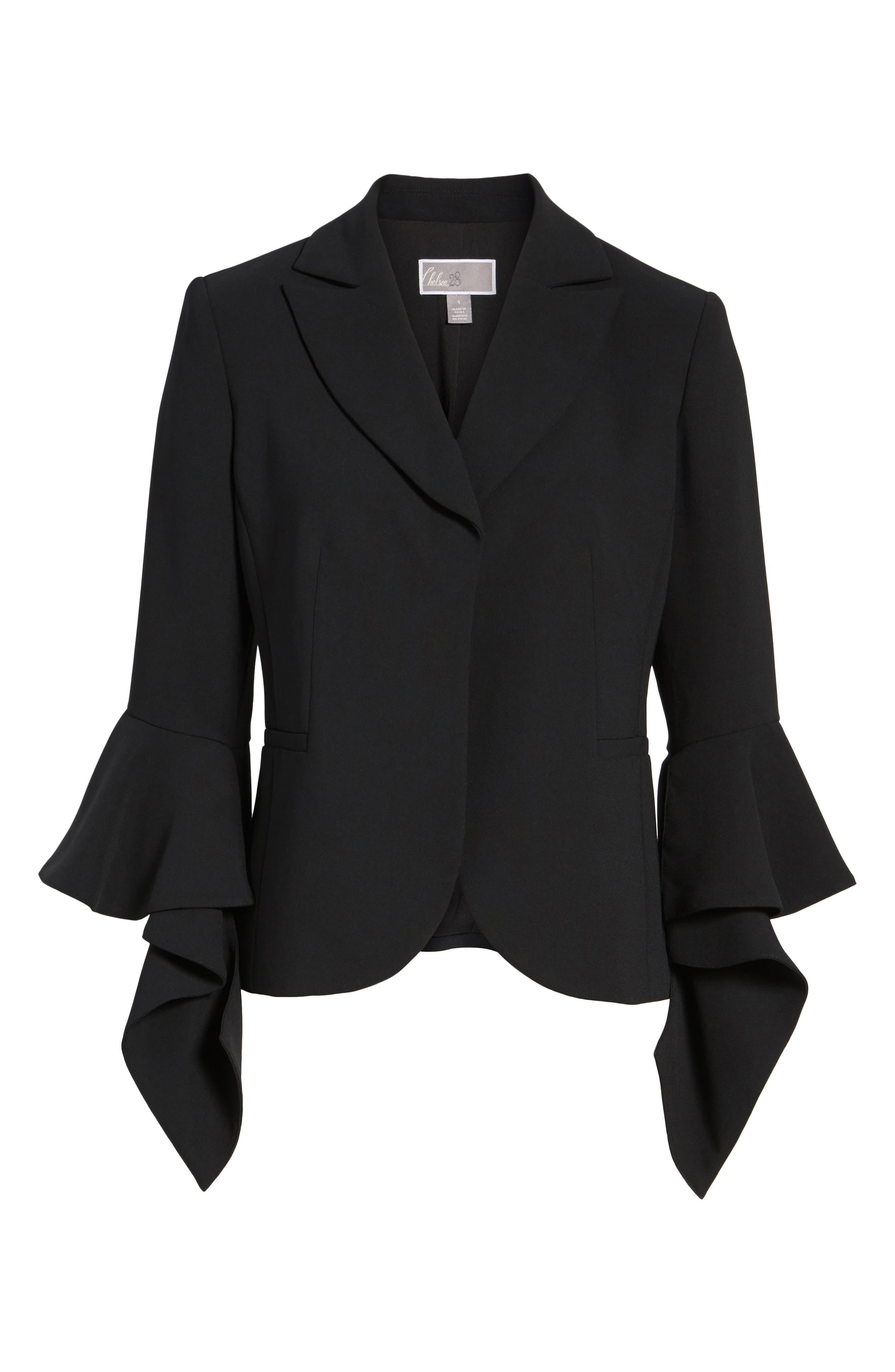 Ruffle Sleeve Blazer,                             Alternate thumbnail 6, color,                             Black